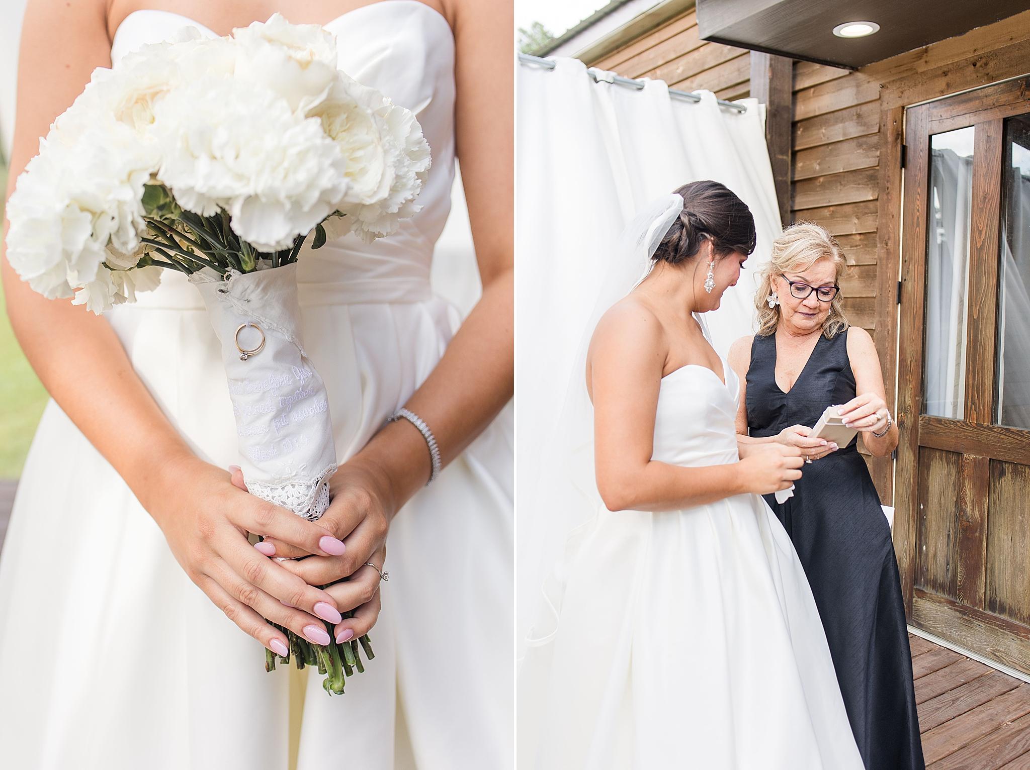 mom of bride reads handkerchief from bride