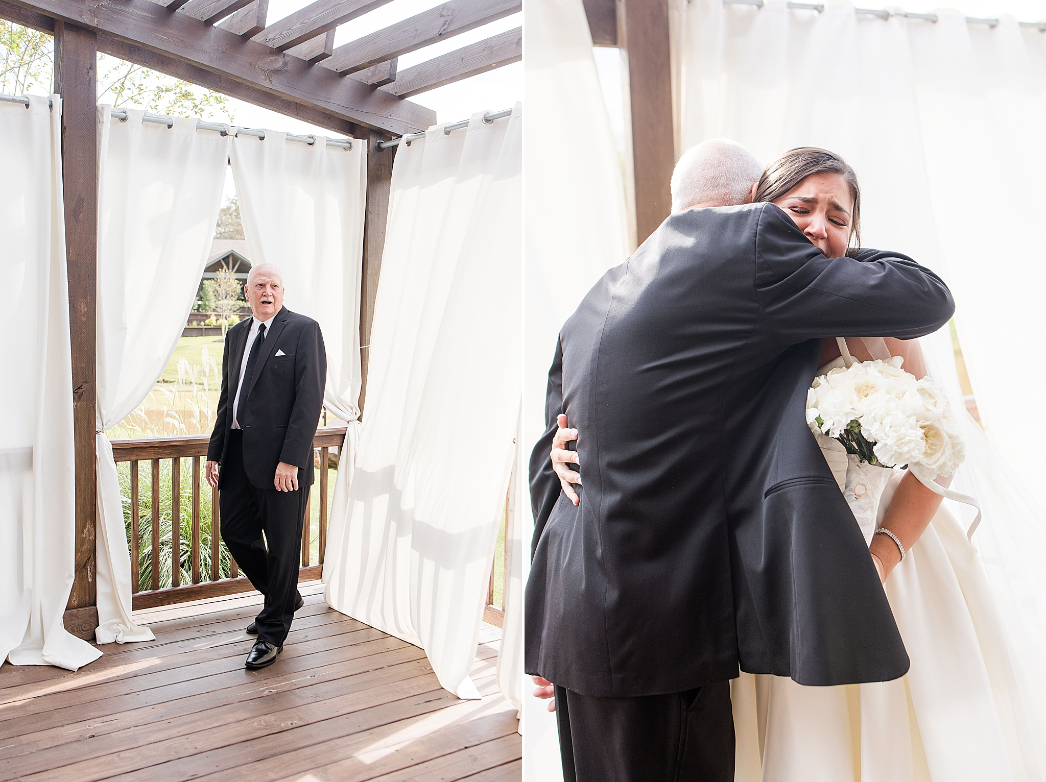 emotional first look with bride and father