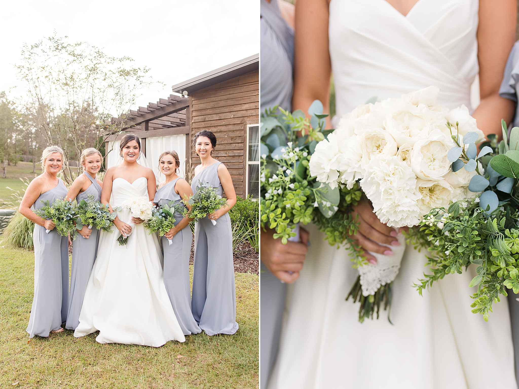 bride poses with bridesmaids before fall Izenstone wedding