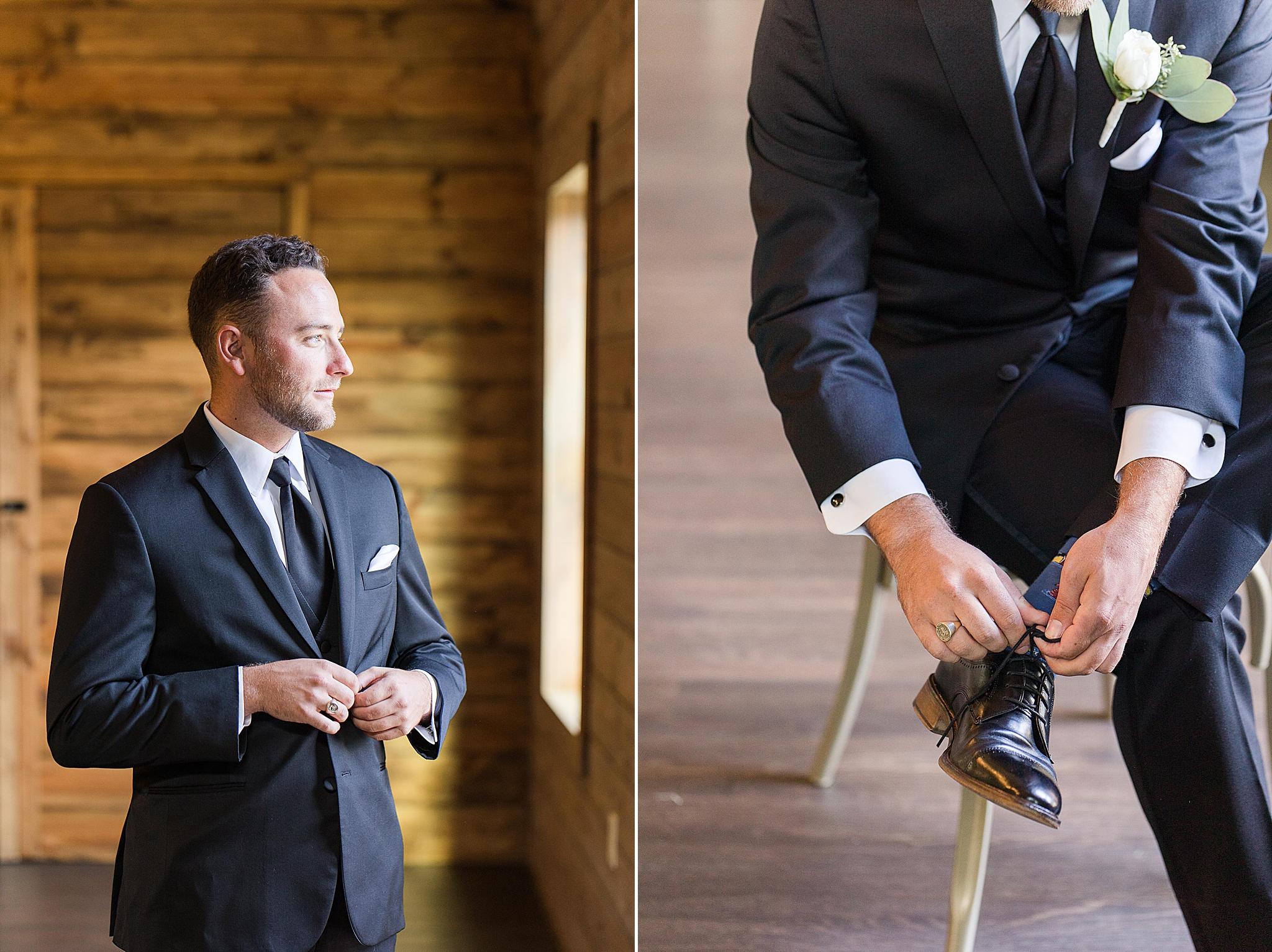 groom prepares for fall Izenstone wedding