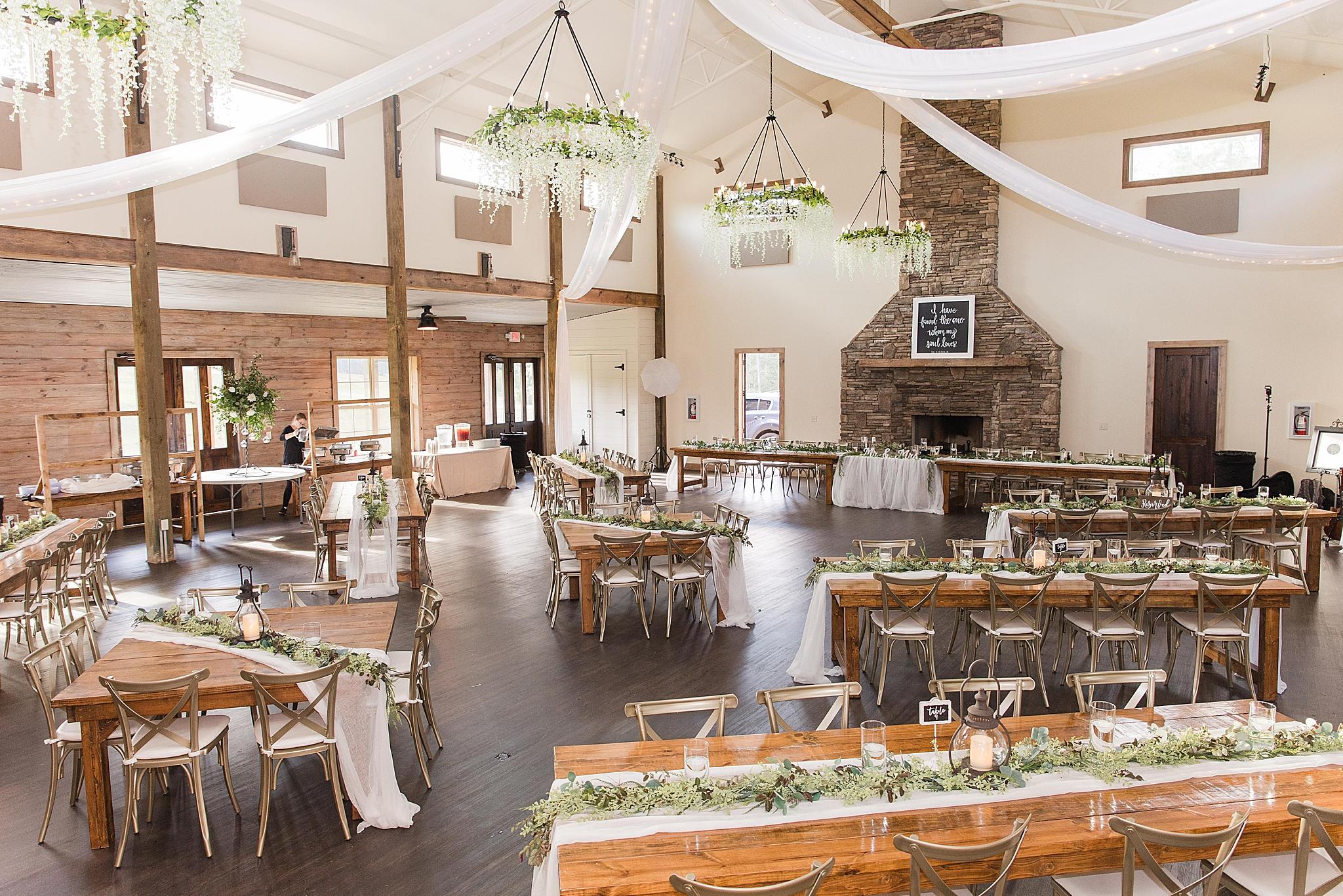 romantic rustic Izenstone wedding reception