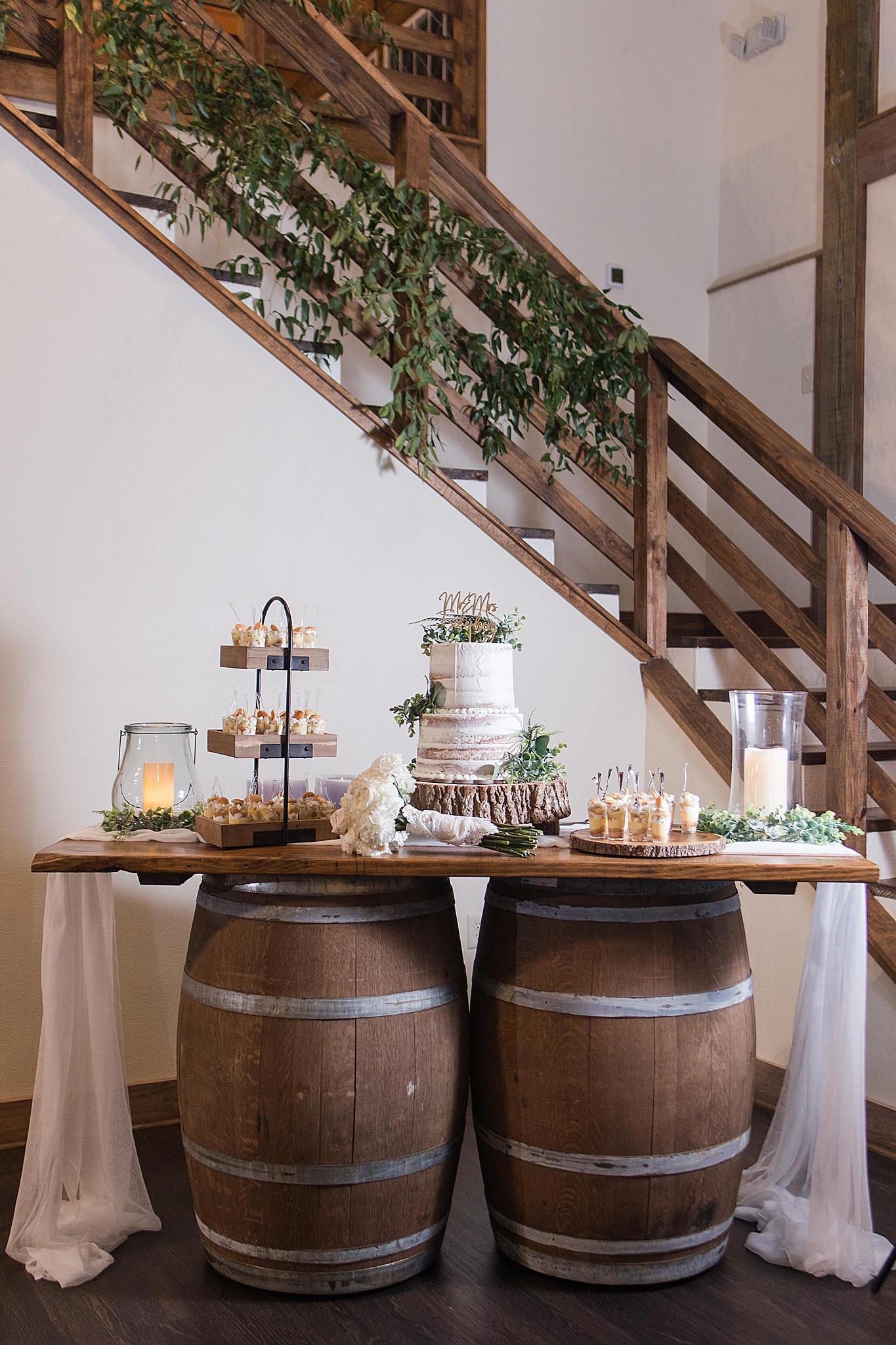 cake table for Izenstone wedding reception