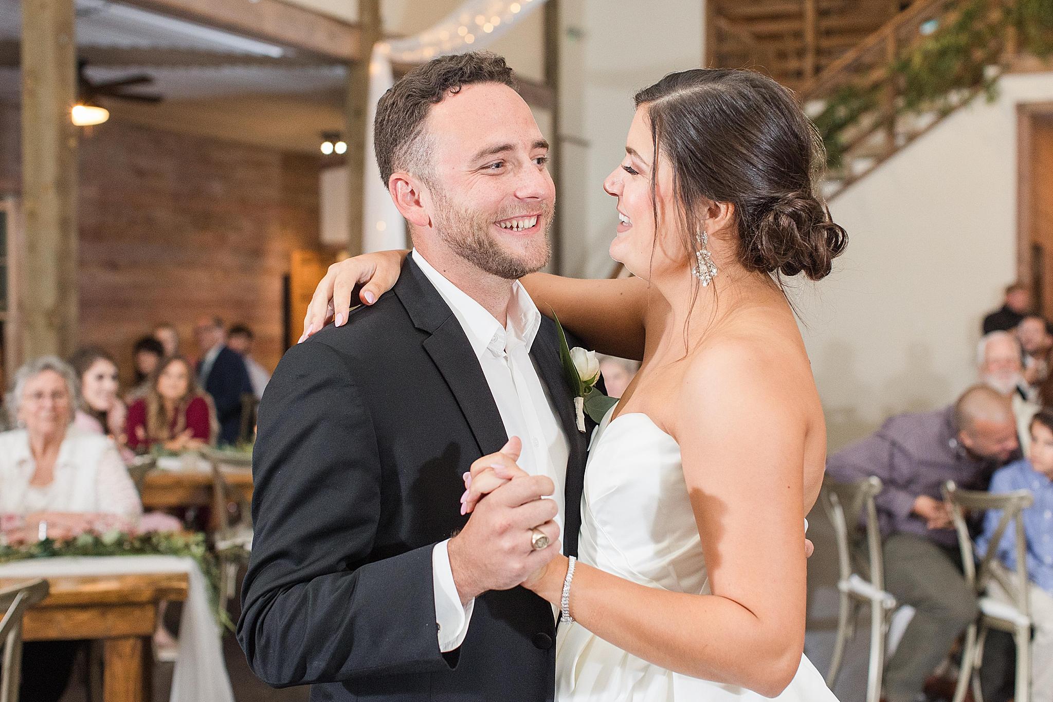 bride and groom dance during Izenstone wedding reception