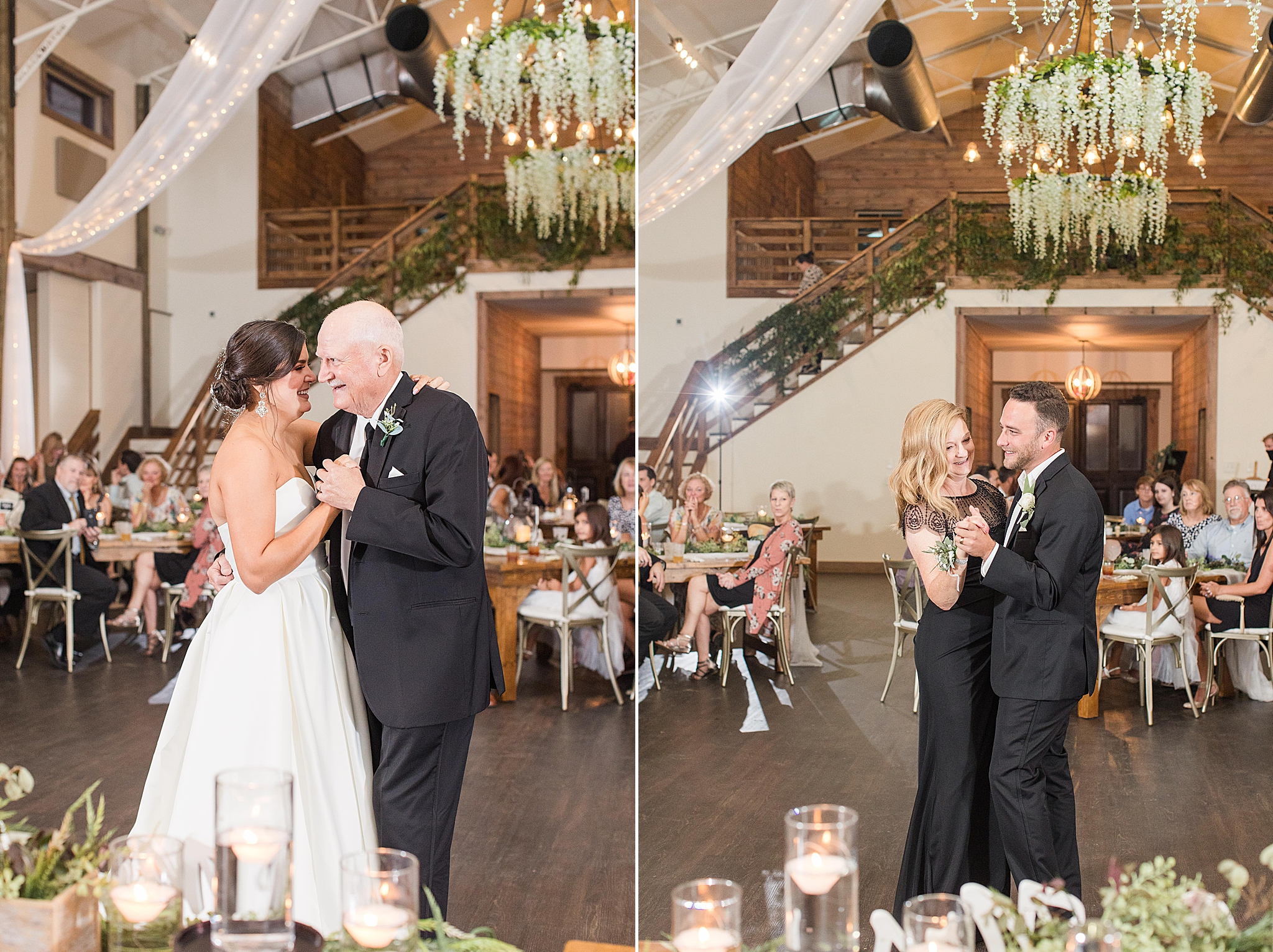 newlyweds dance with parents at Alabama wedding reception