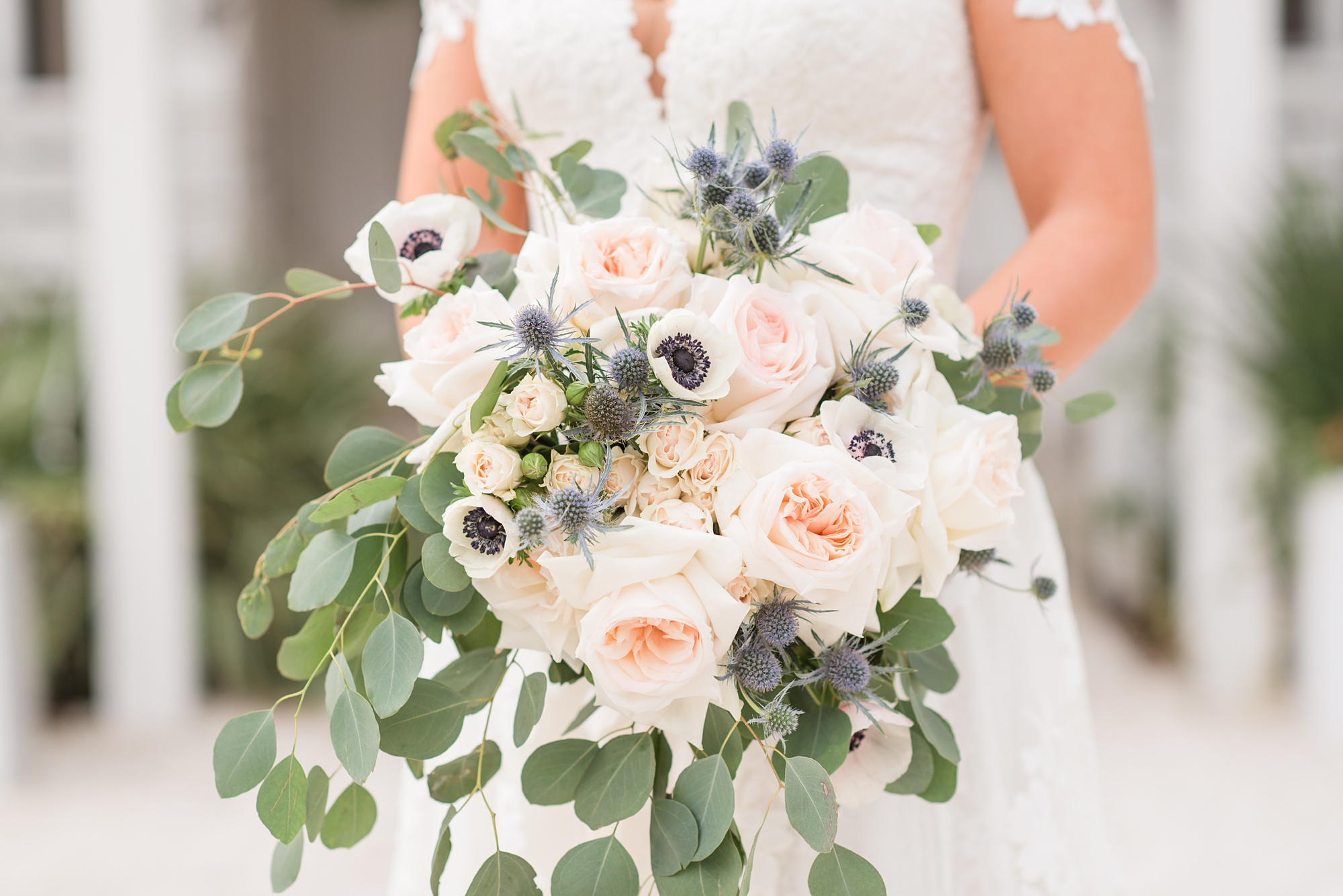 pastel bouquet for bridal session at Little Point Clear