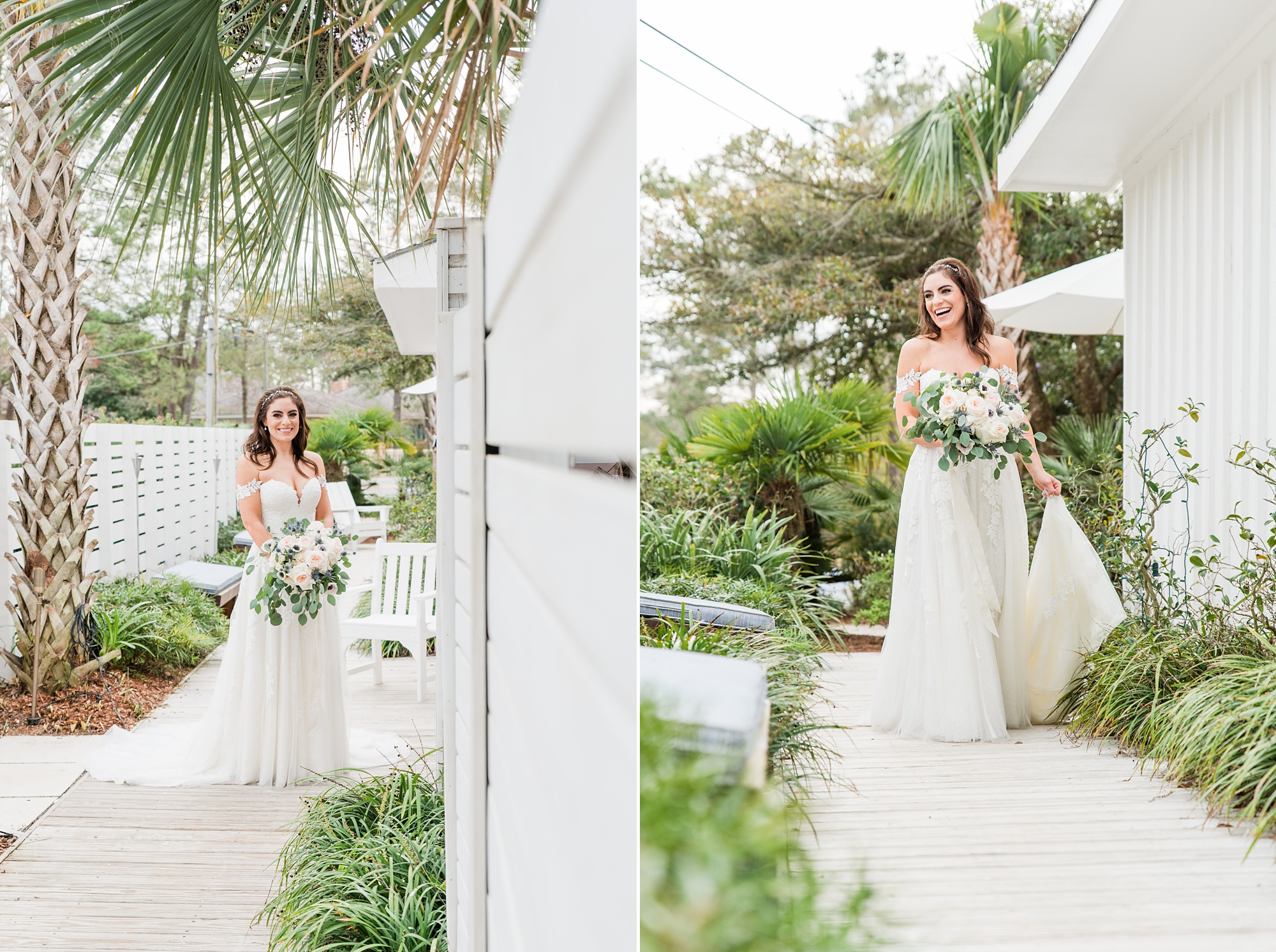 bride poses with palm trees during bridal portraits
