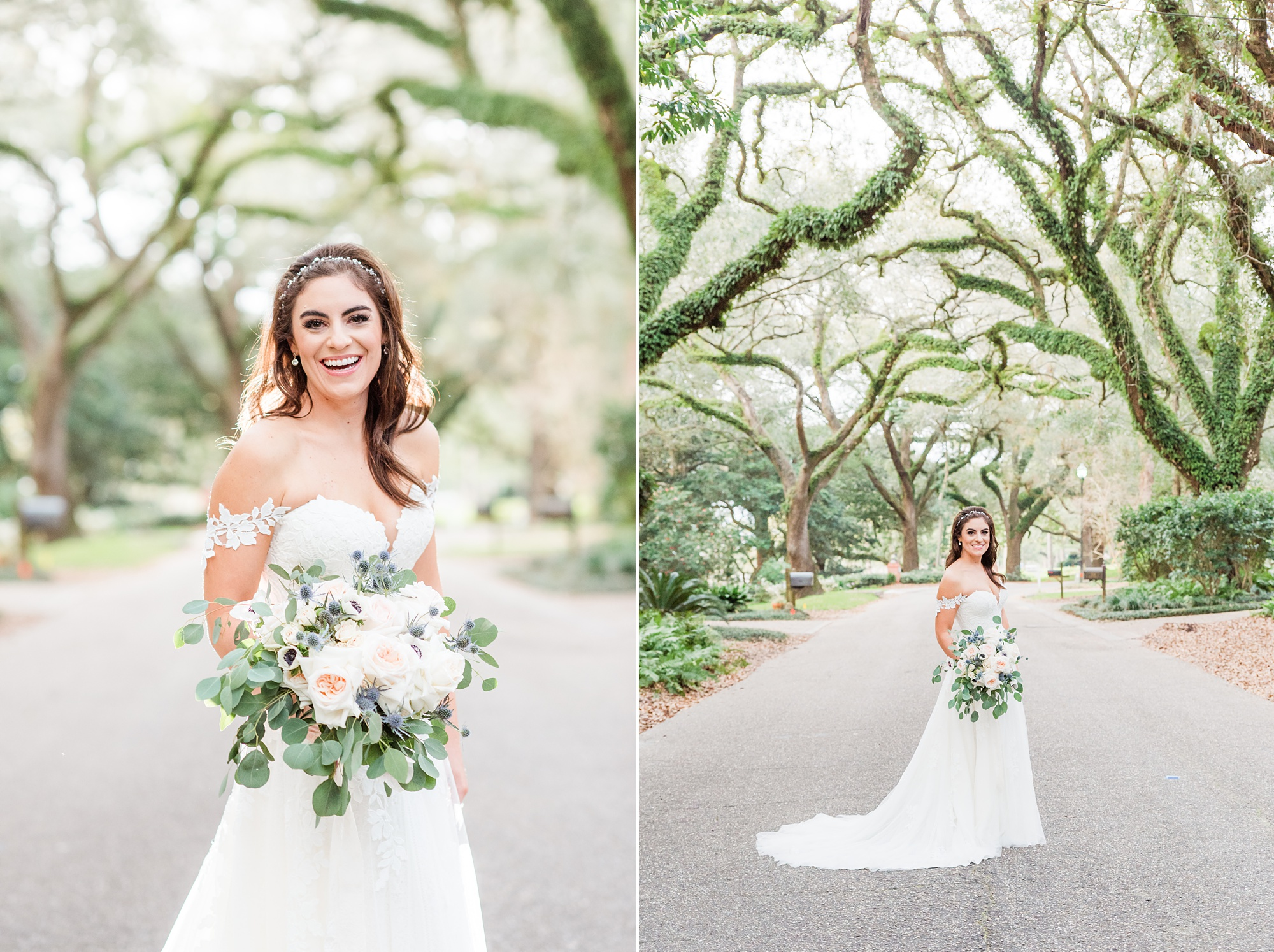 Southern bridal portraits by big trees in Fairhope AL