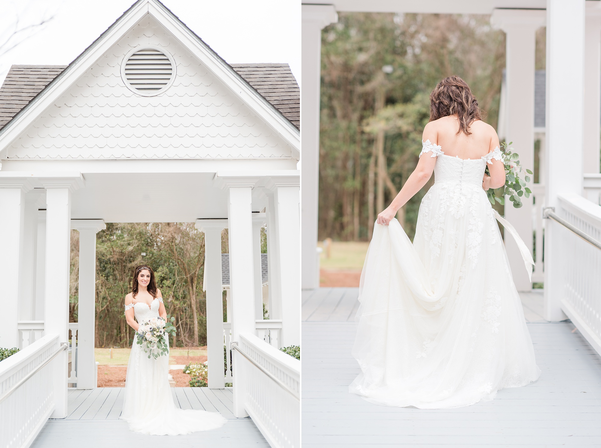 bride walks with gown during bridal portraits