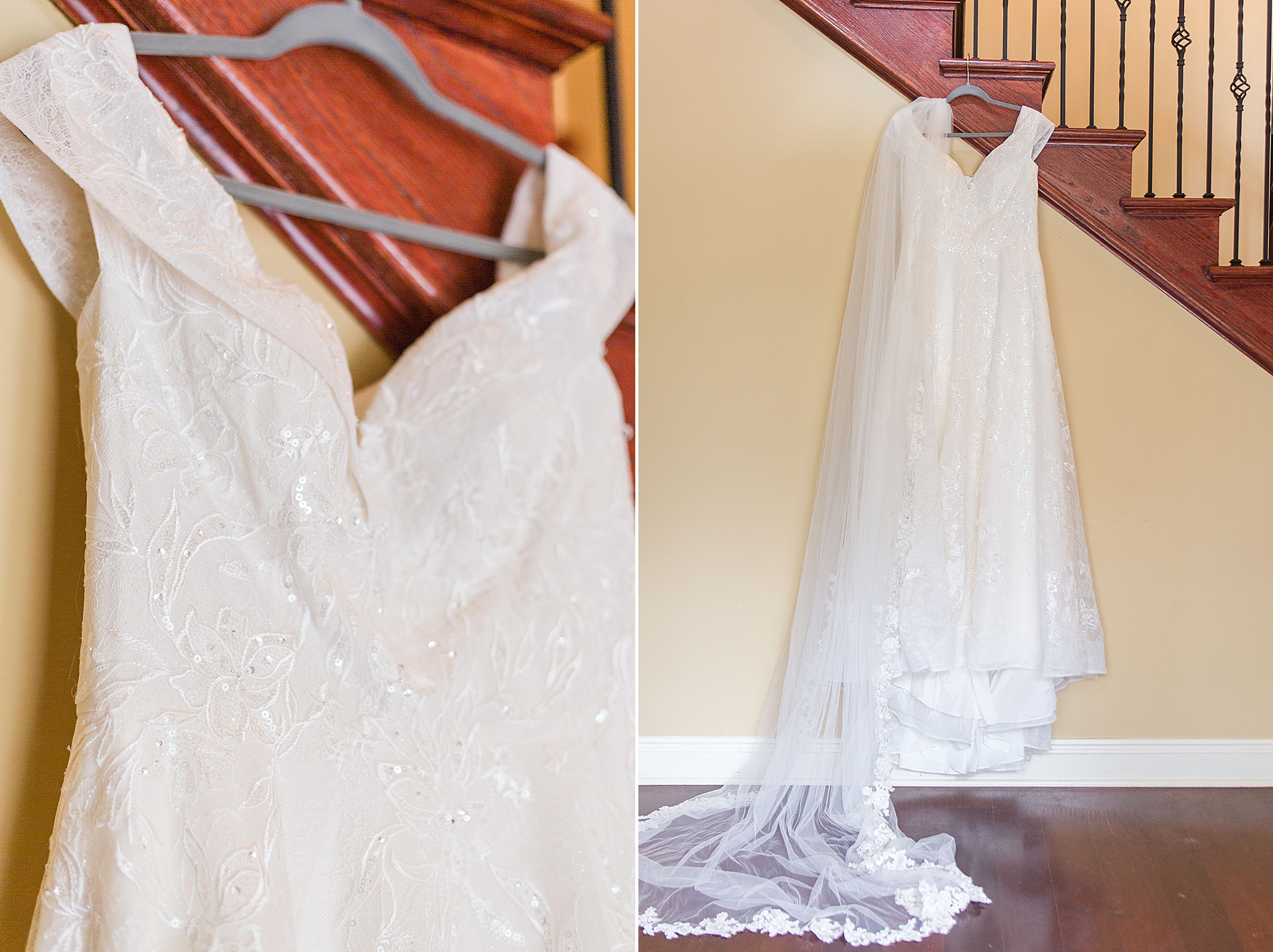 wedding dress hangs in Bella Sera Gardens getting ready suite