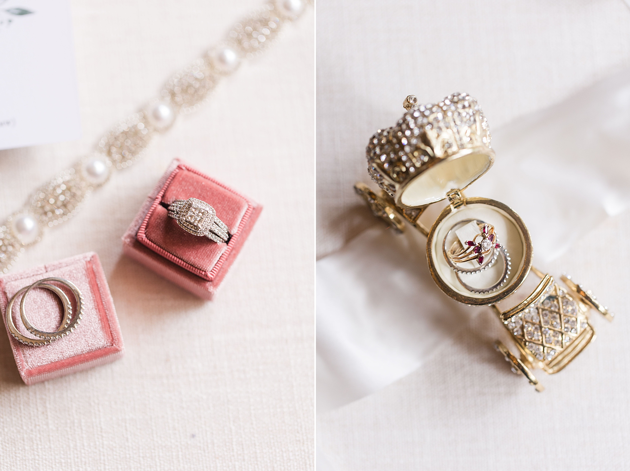 family heirloom rings rest with bride's rings on pink ring box