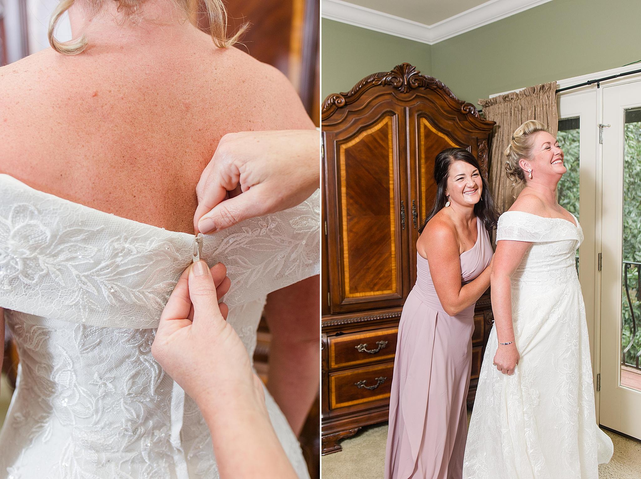 bride prepares for Bella Sera Gardens wedding with bridesmaid
