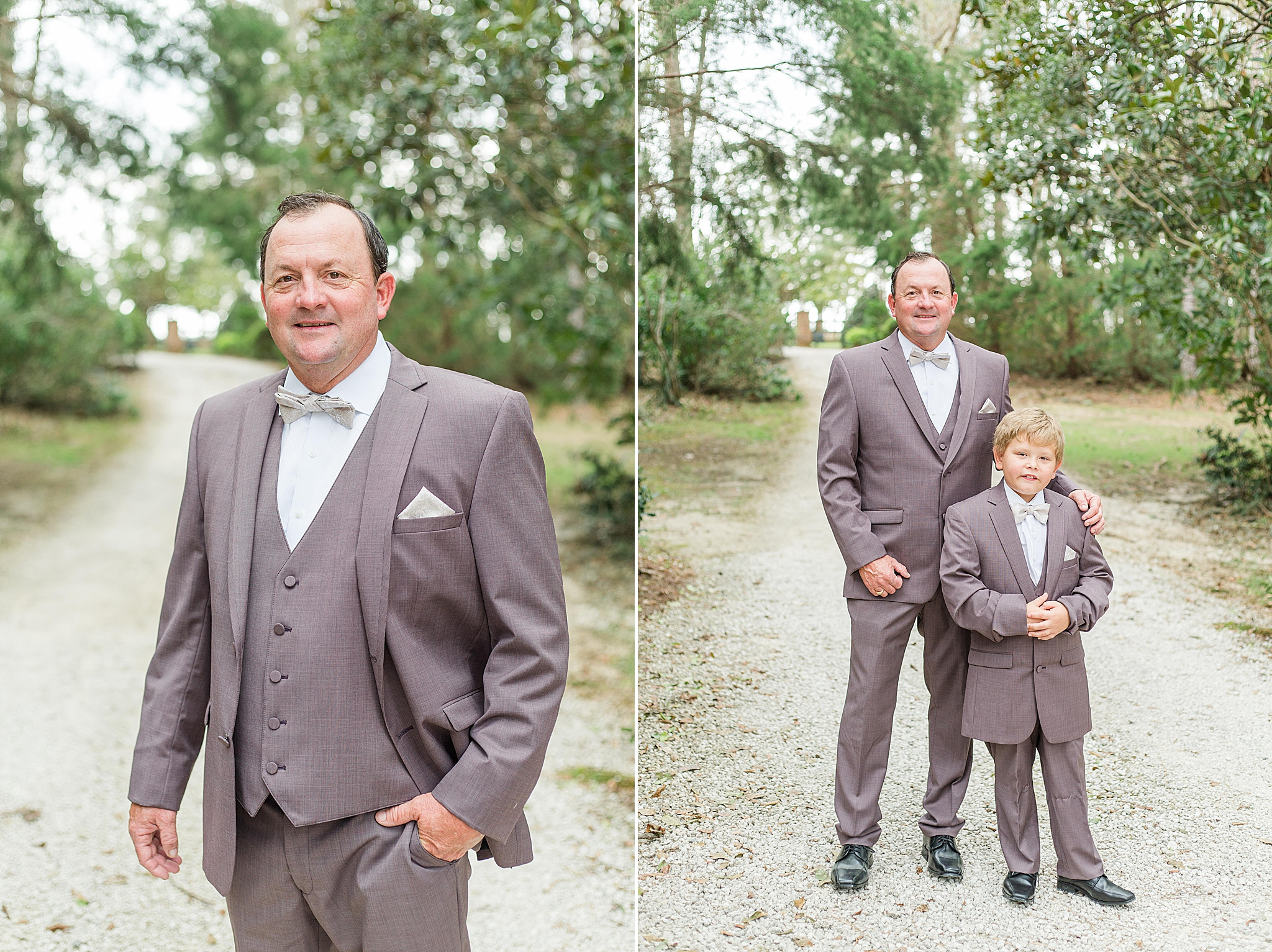 Alabama groom poses with son before Loxley AL wedding