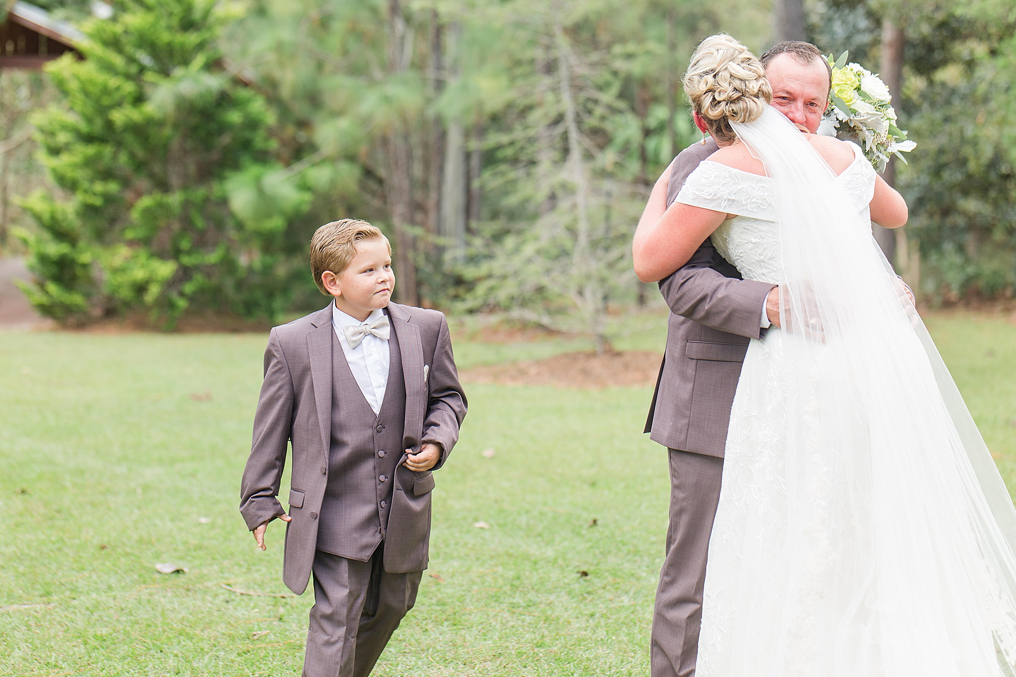 emotional first look on wedding day in AL