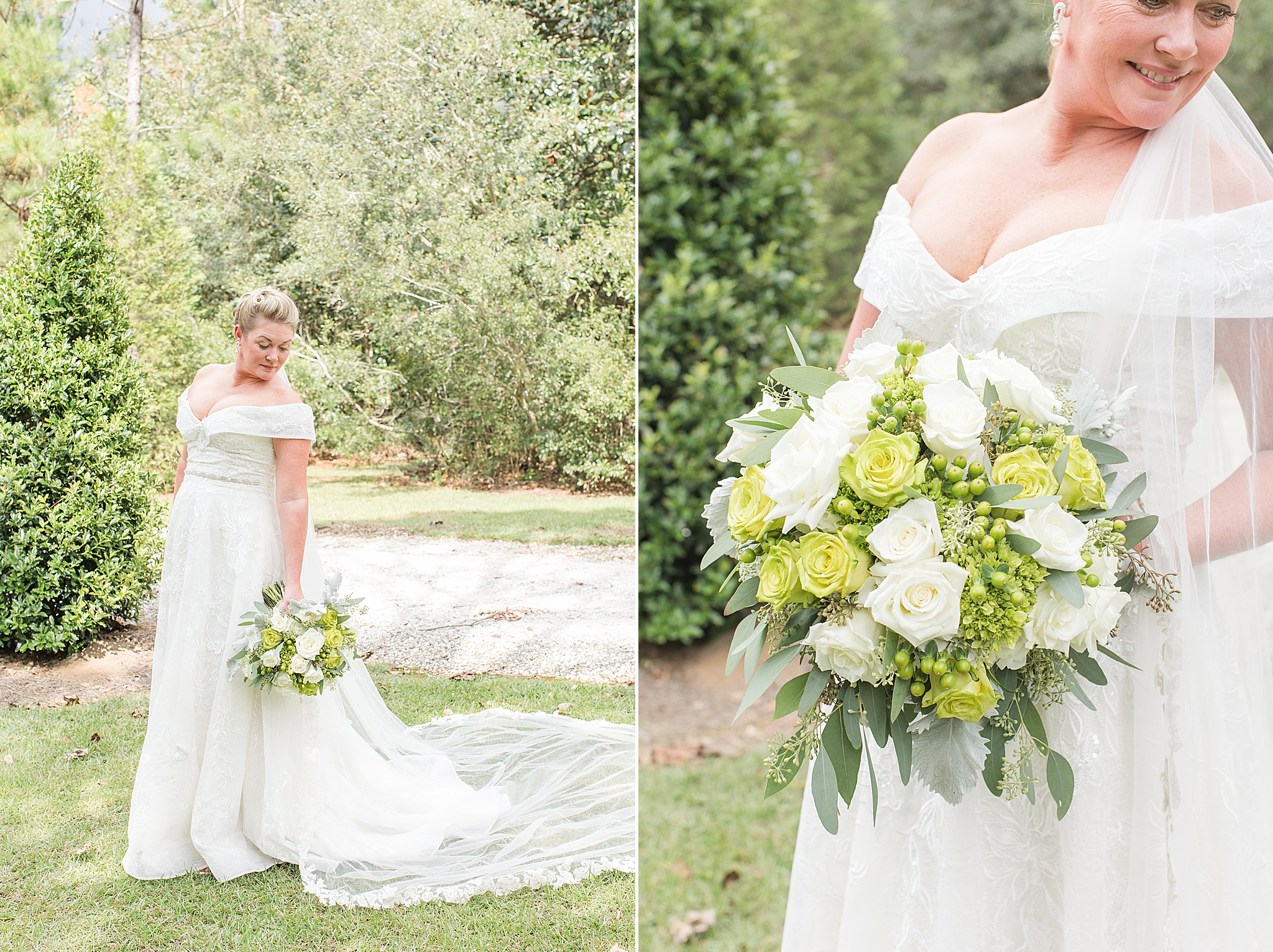 bridal portraits at Bella Sera Gardens with veil and bouquet