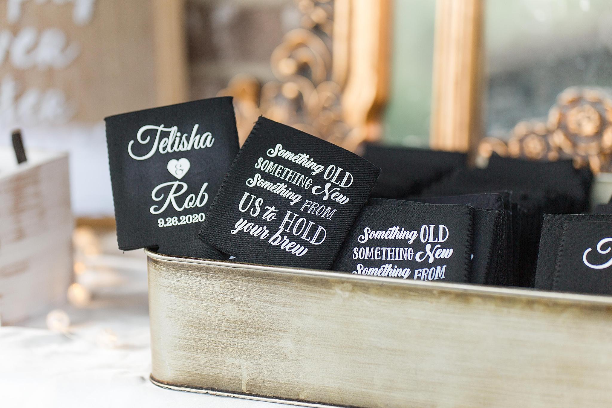 custom koozies for AL wedding reception