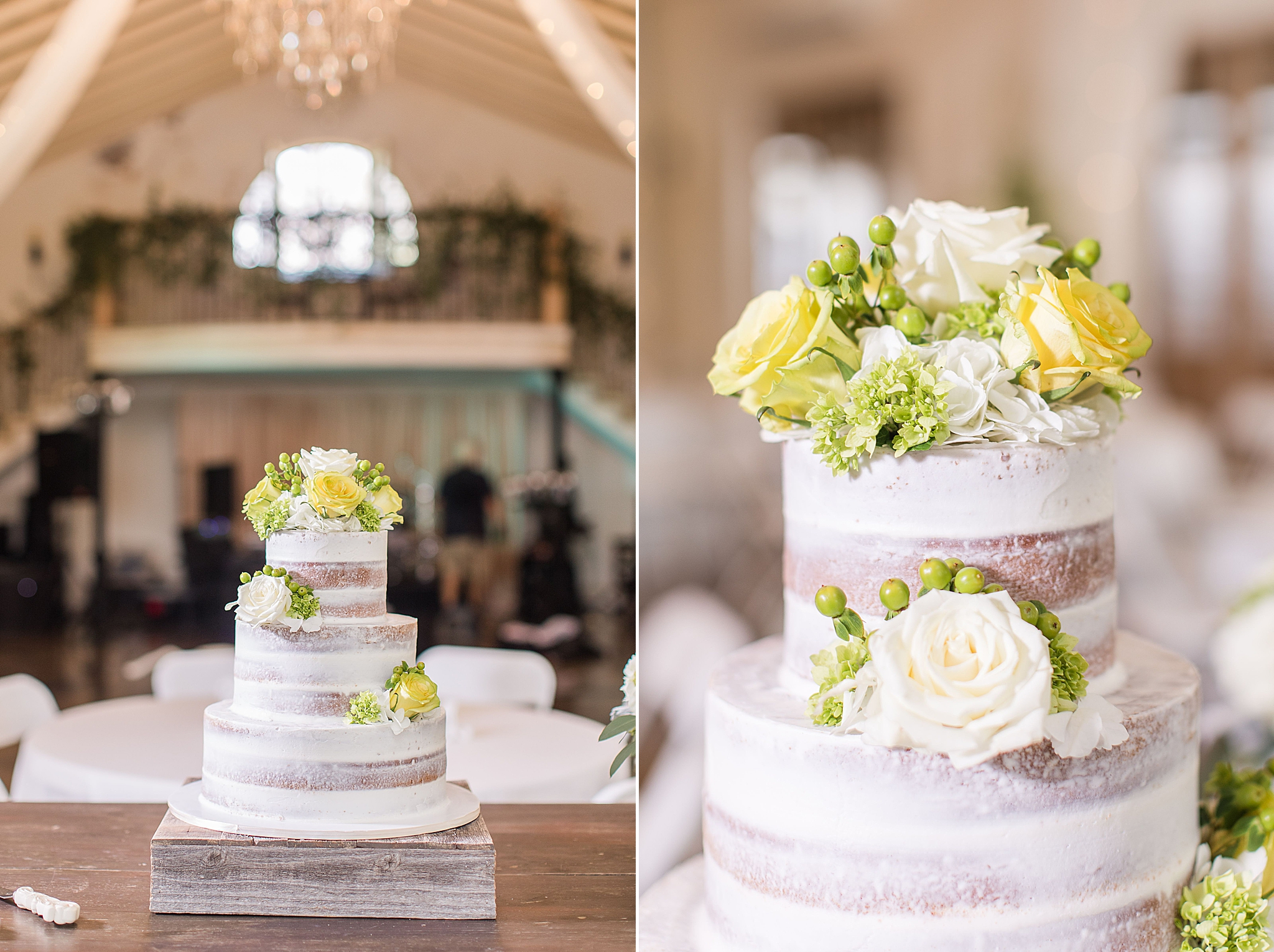 naked cake with yellow and white roses