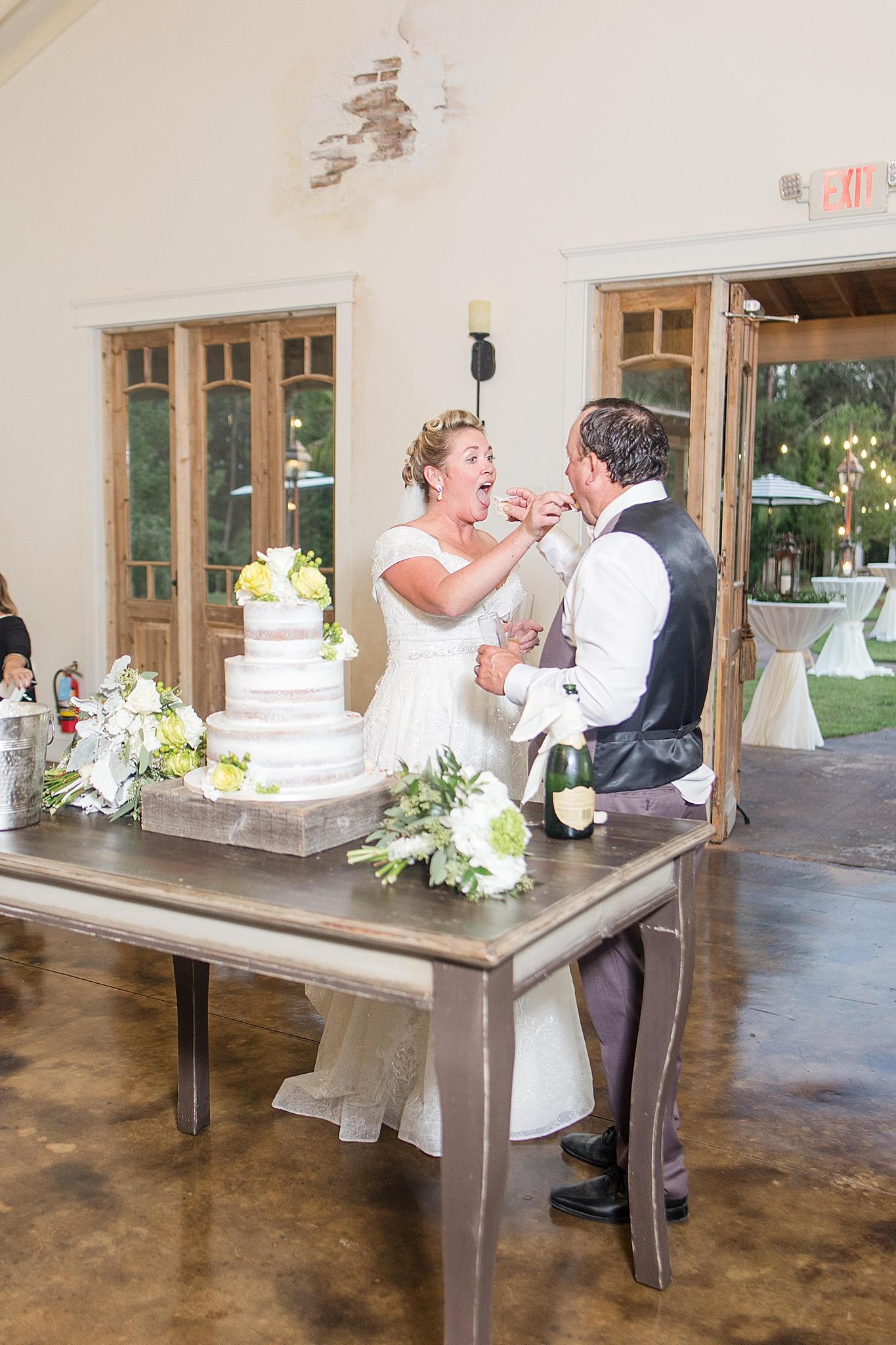cake cutting during Alabama wedding reception