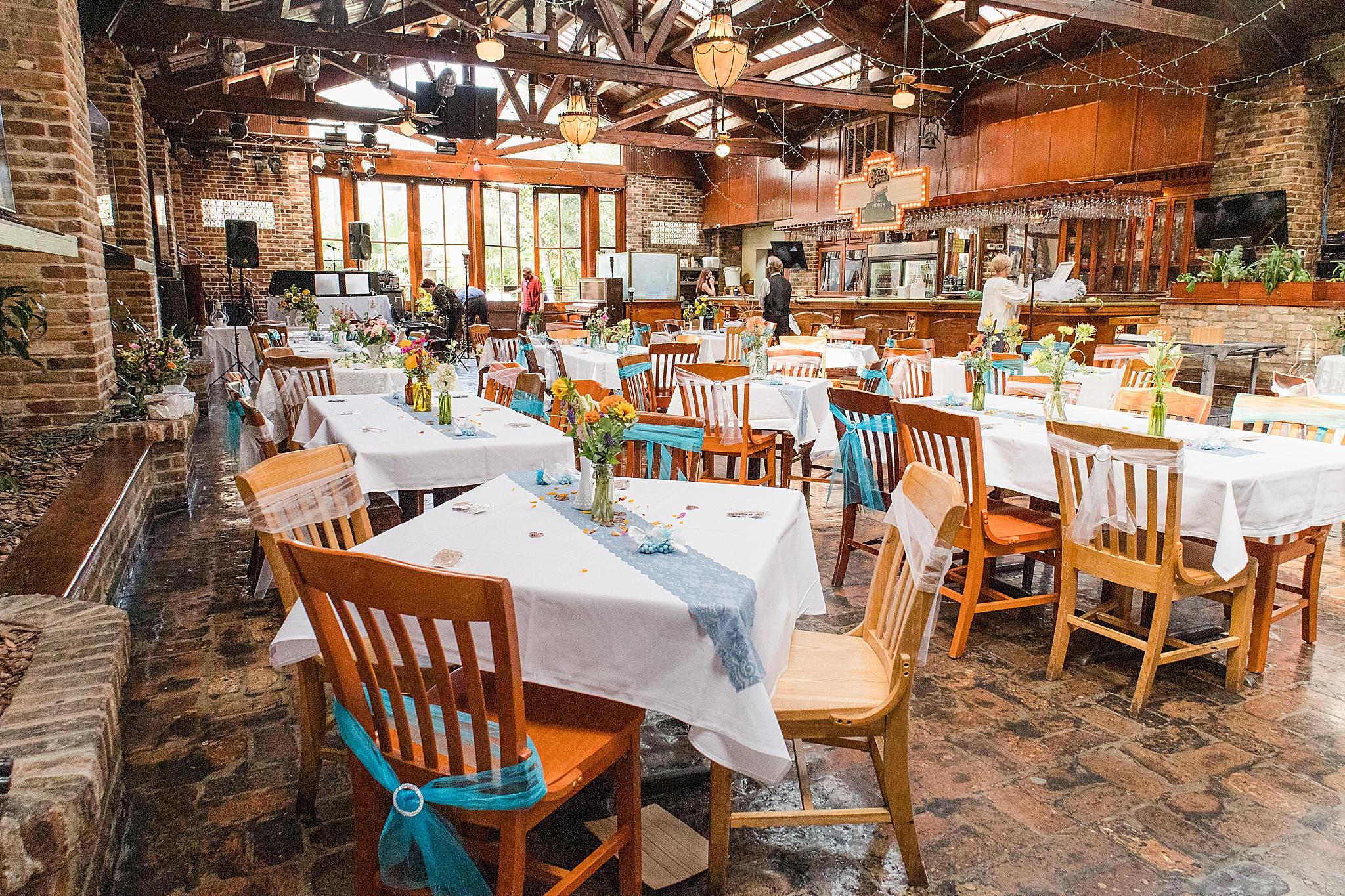 Seville Quarter wedding reception with blue details