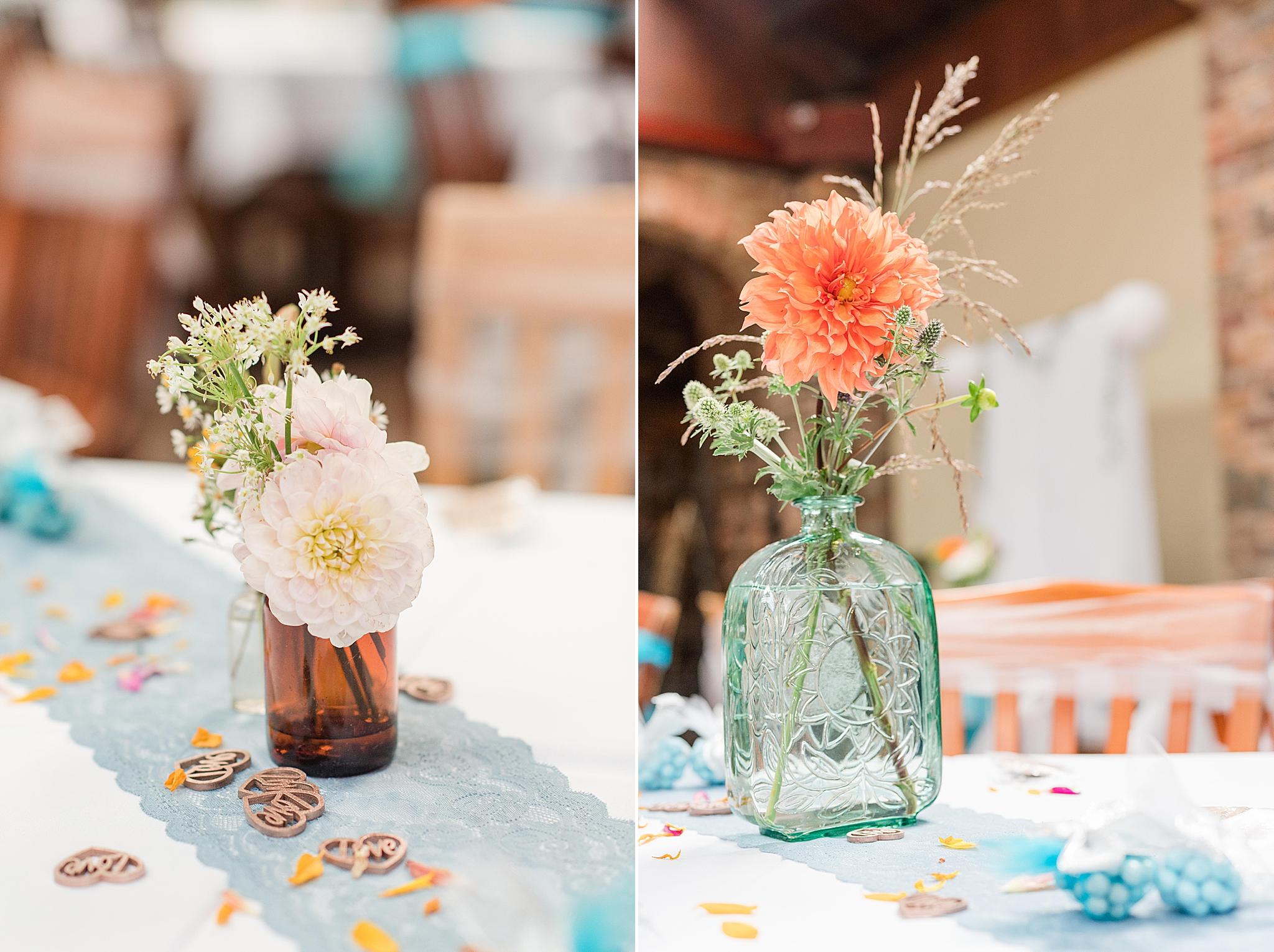 Seville Quarter wedding reception centerpieces with flowers