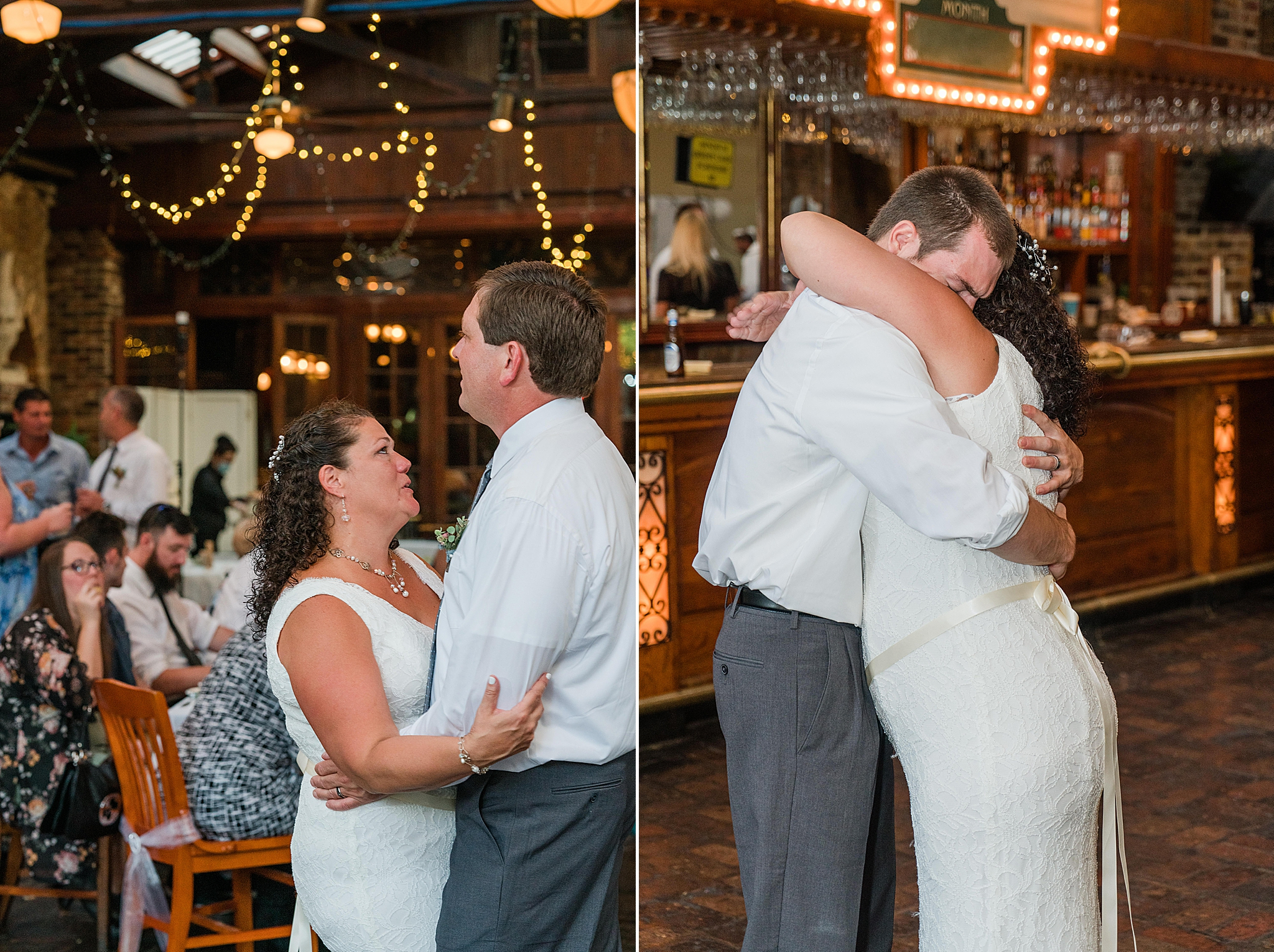 bride dances with son and groom at reception
