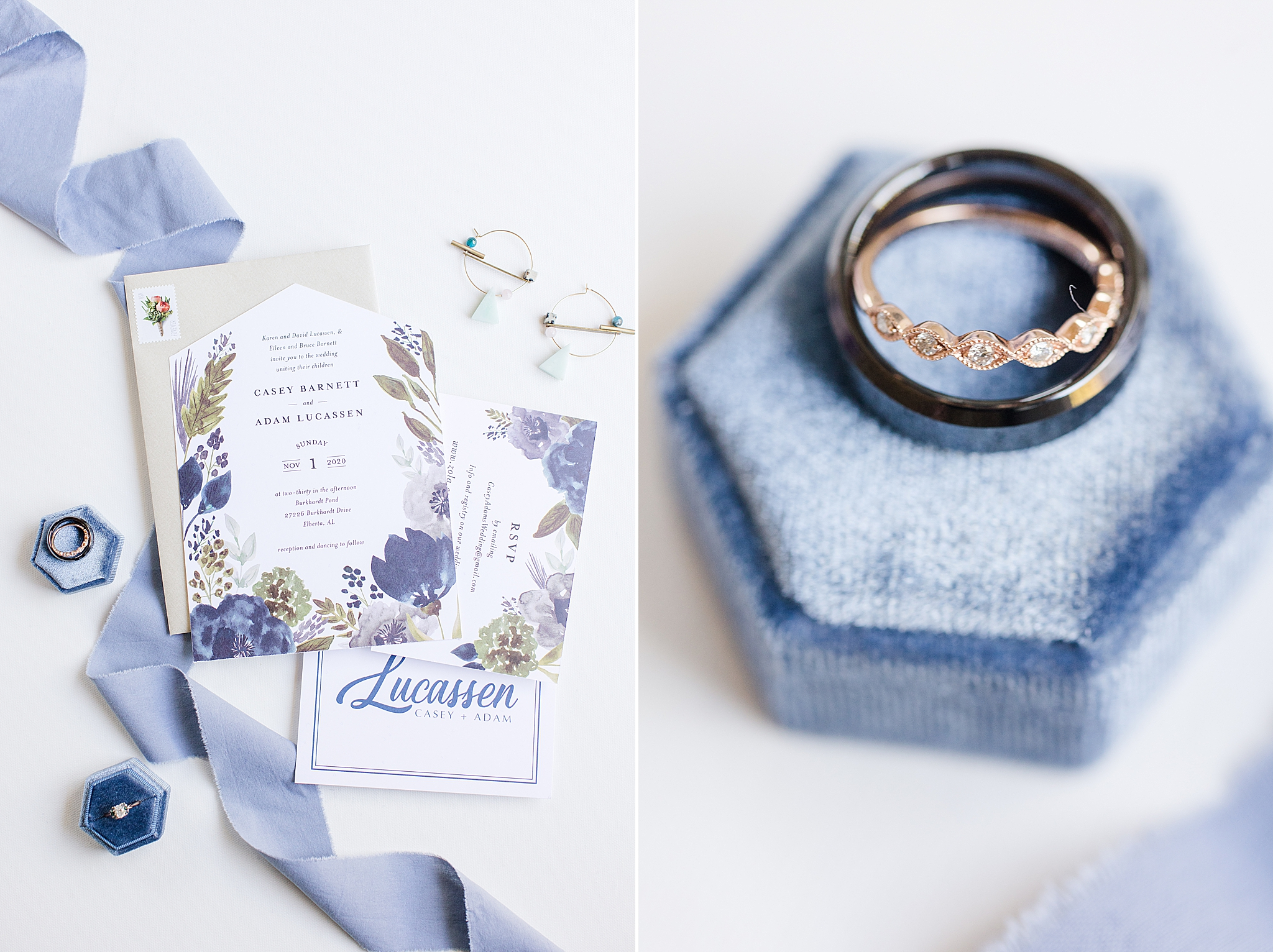 blue and ivory invitation suite from Minted