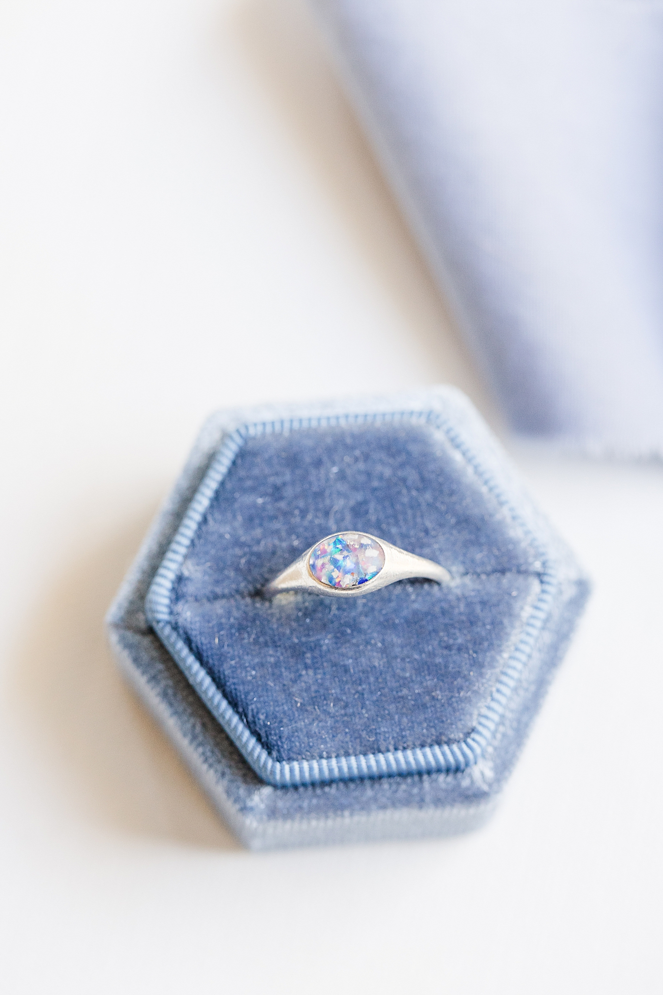 bride's ring with dog's ashes