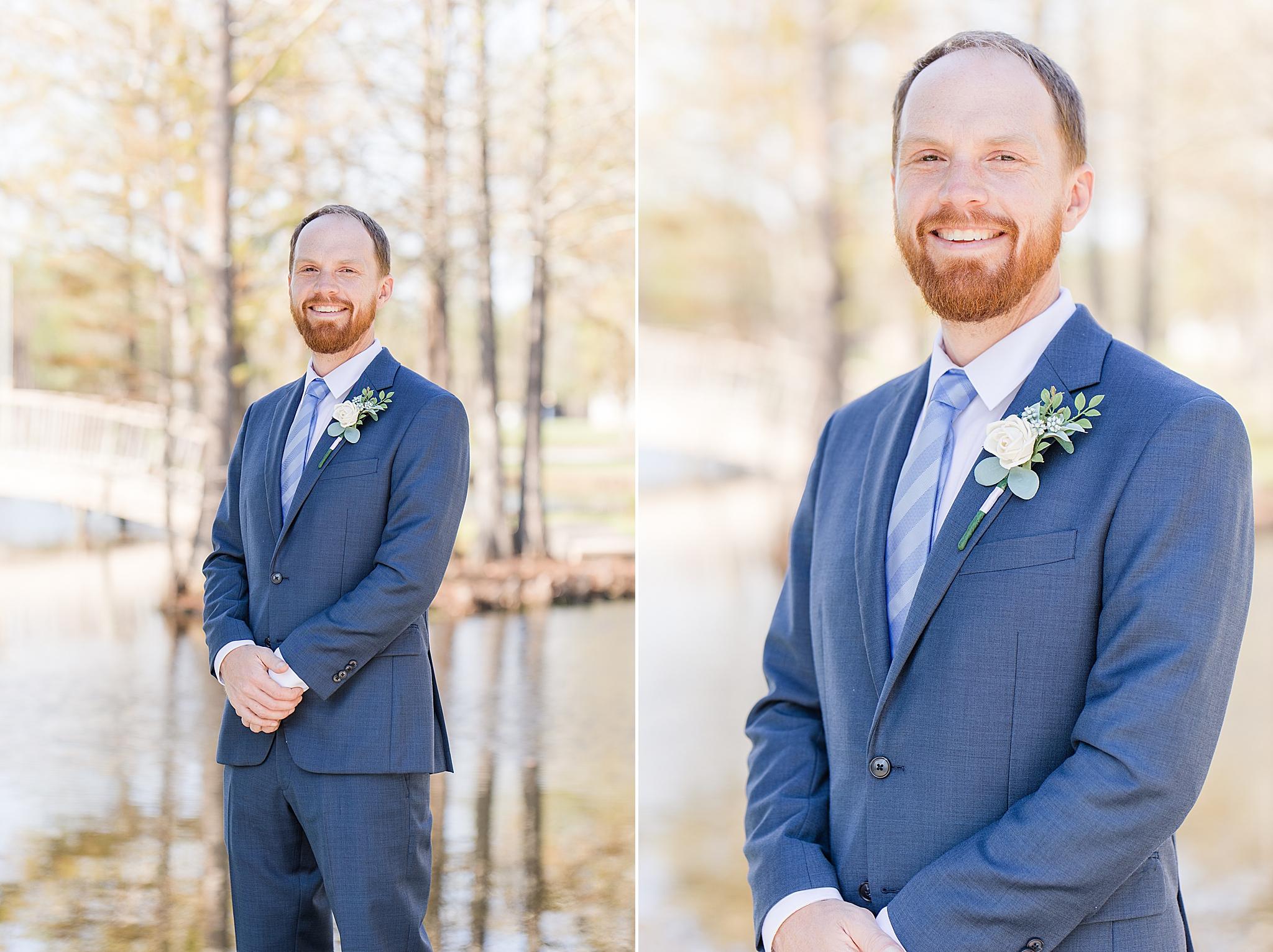 groom in blue suit prepares for Burkhardt Pond Wedding