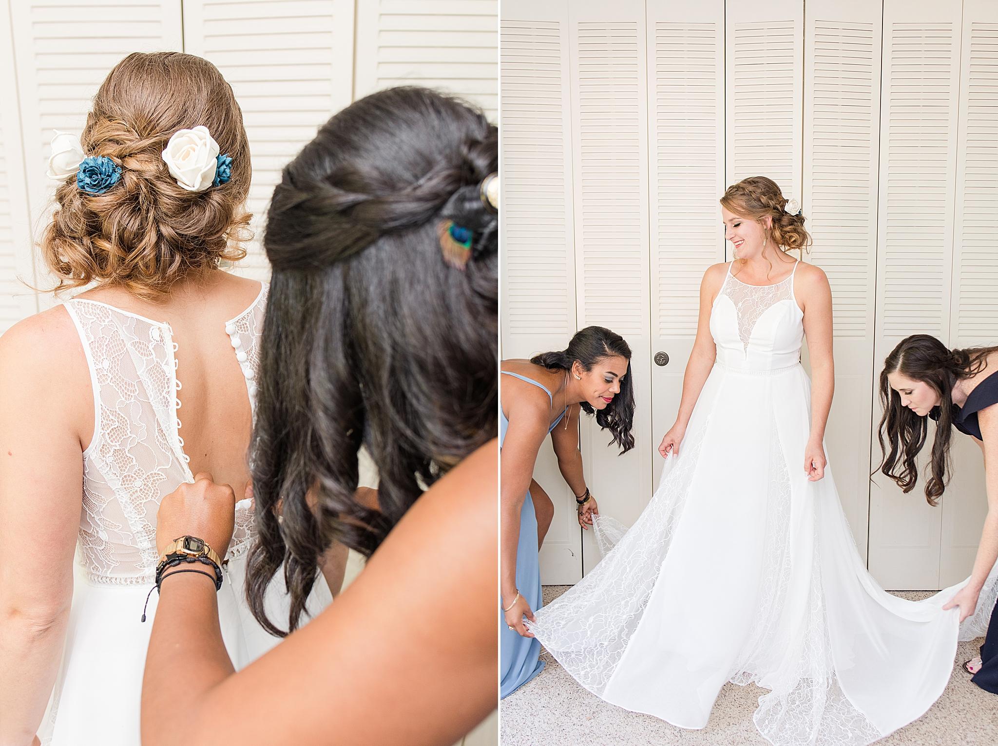 bride prepares for Alabama wedding with bridesmaids