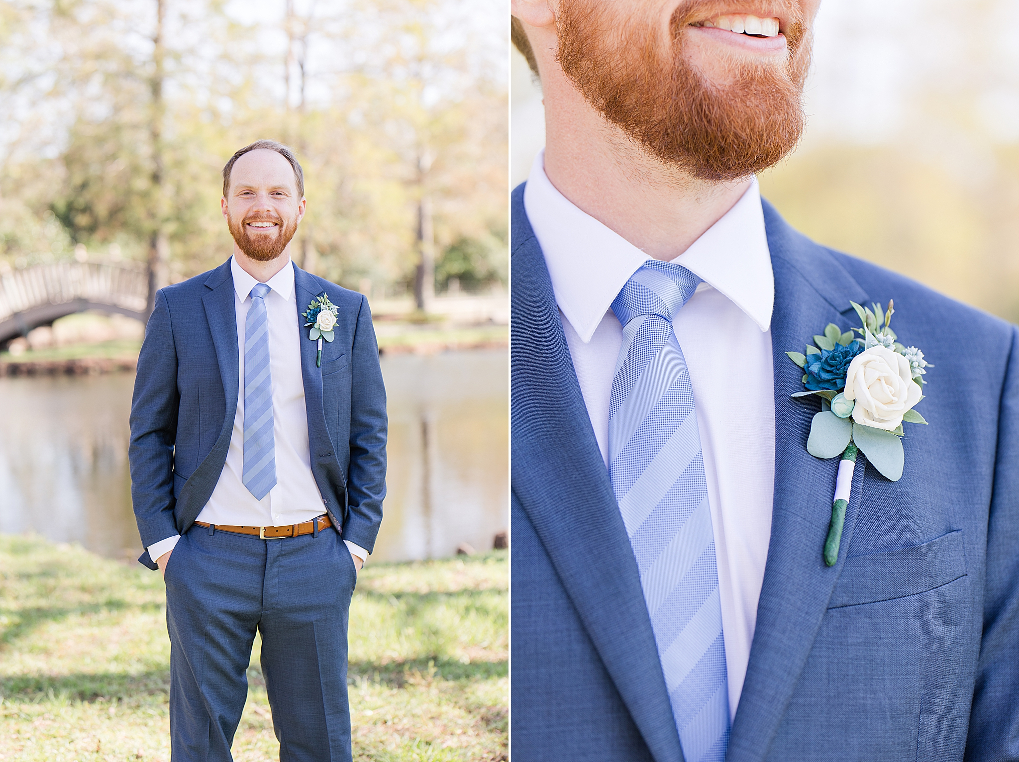 groom in navy suit poses by pond in Burkhardt Pond