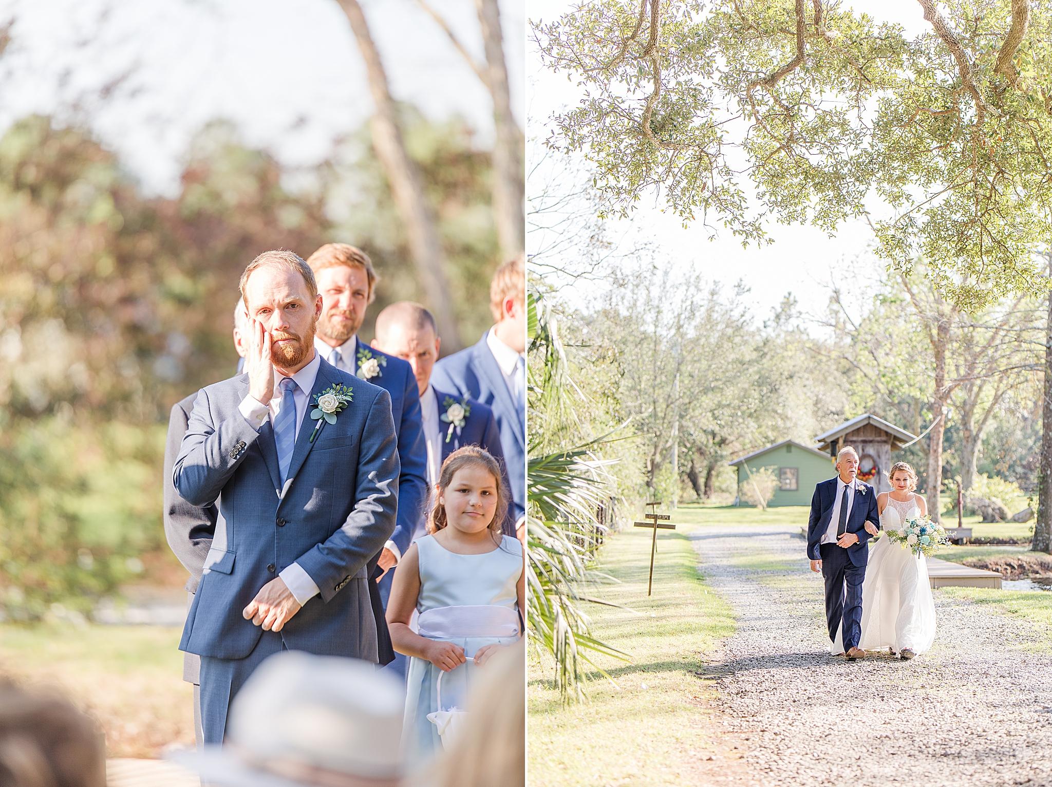 bride walks down aisle while groom cries