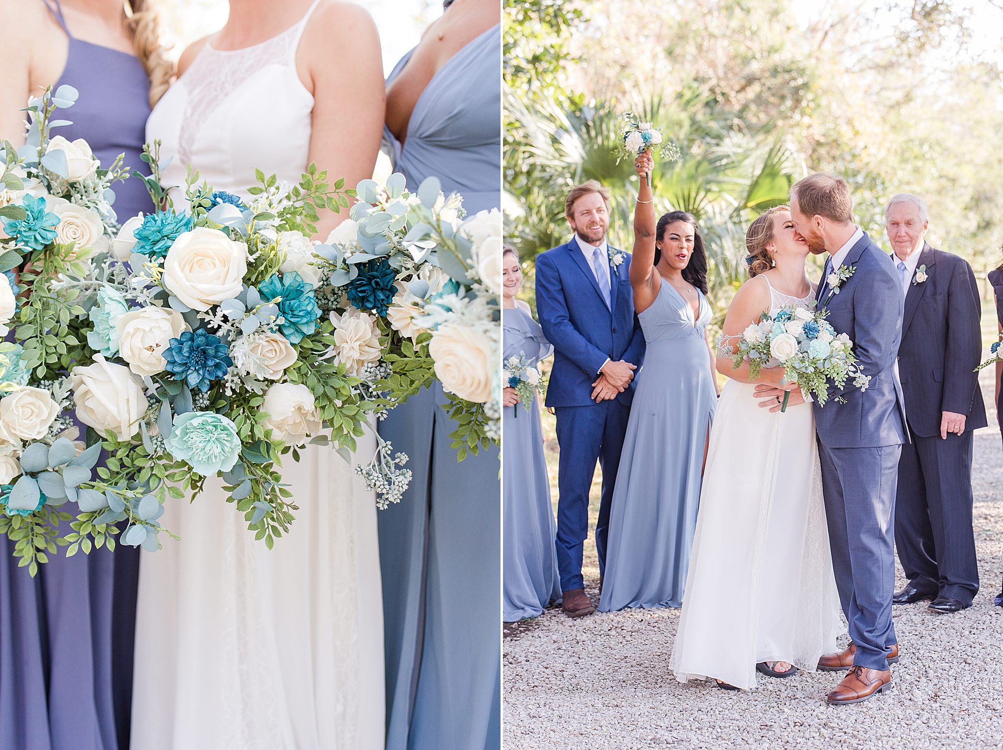 bridal party poses with bride and groom