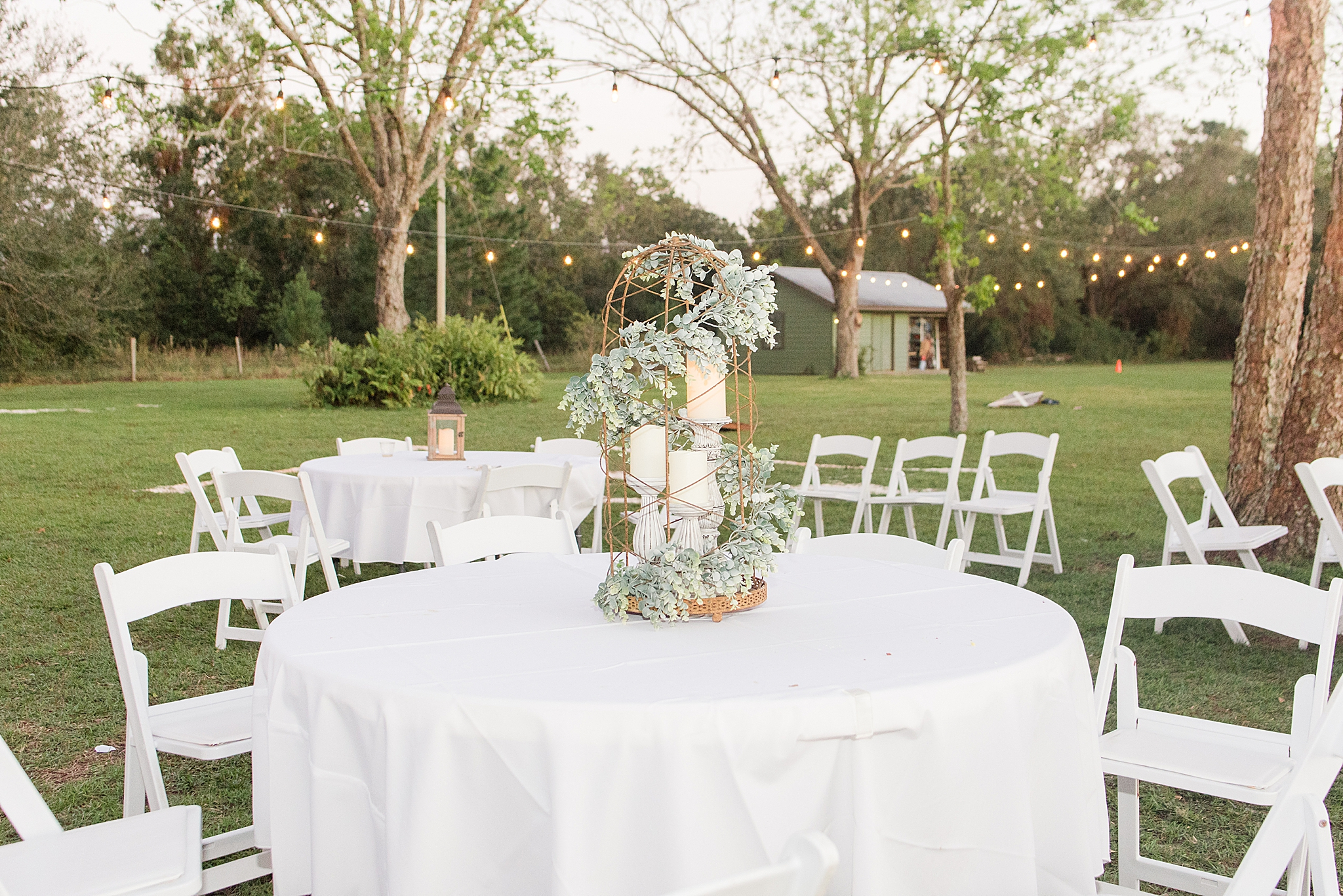table centerpieces for park wedding in Alabama