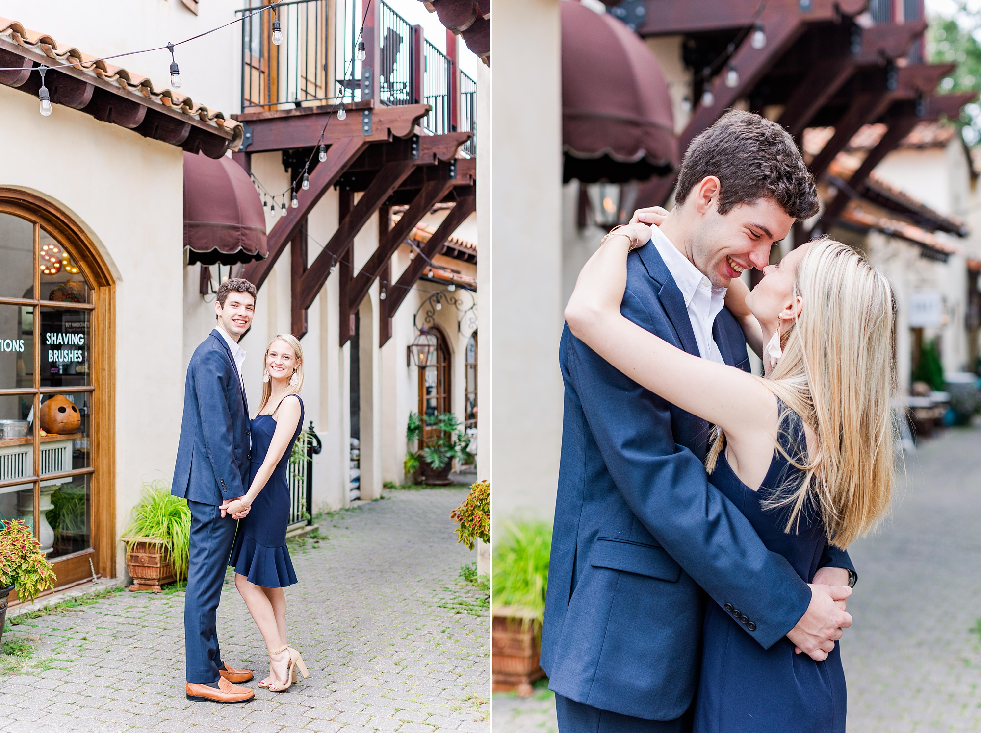 couple in navy suit and dress pose in alley of Downtown Fairhope