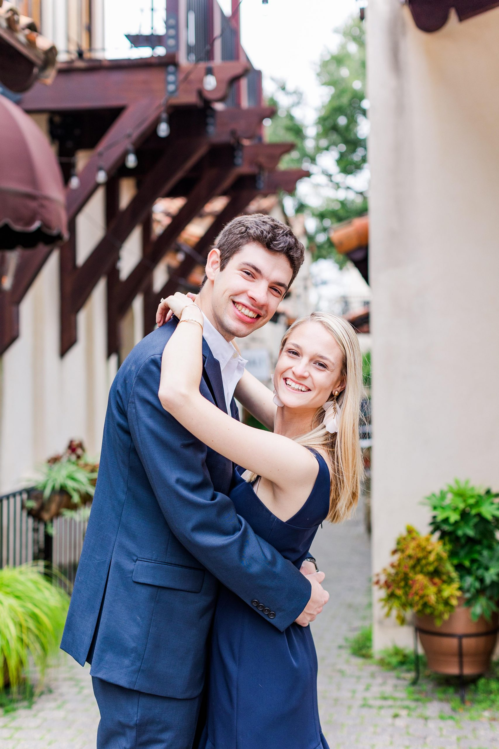 engagement session with couple in Downtown Fairhope AL