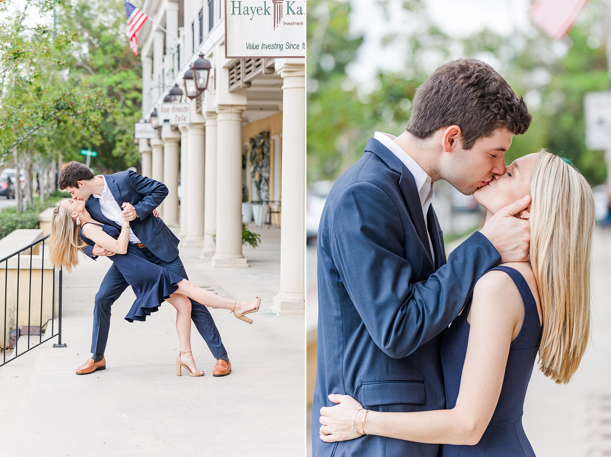 groom kisses bride during engagement portraits in Alabama