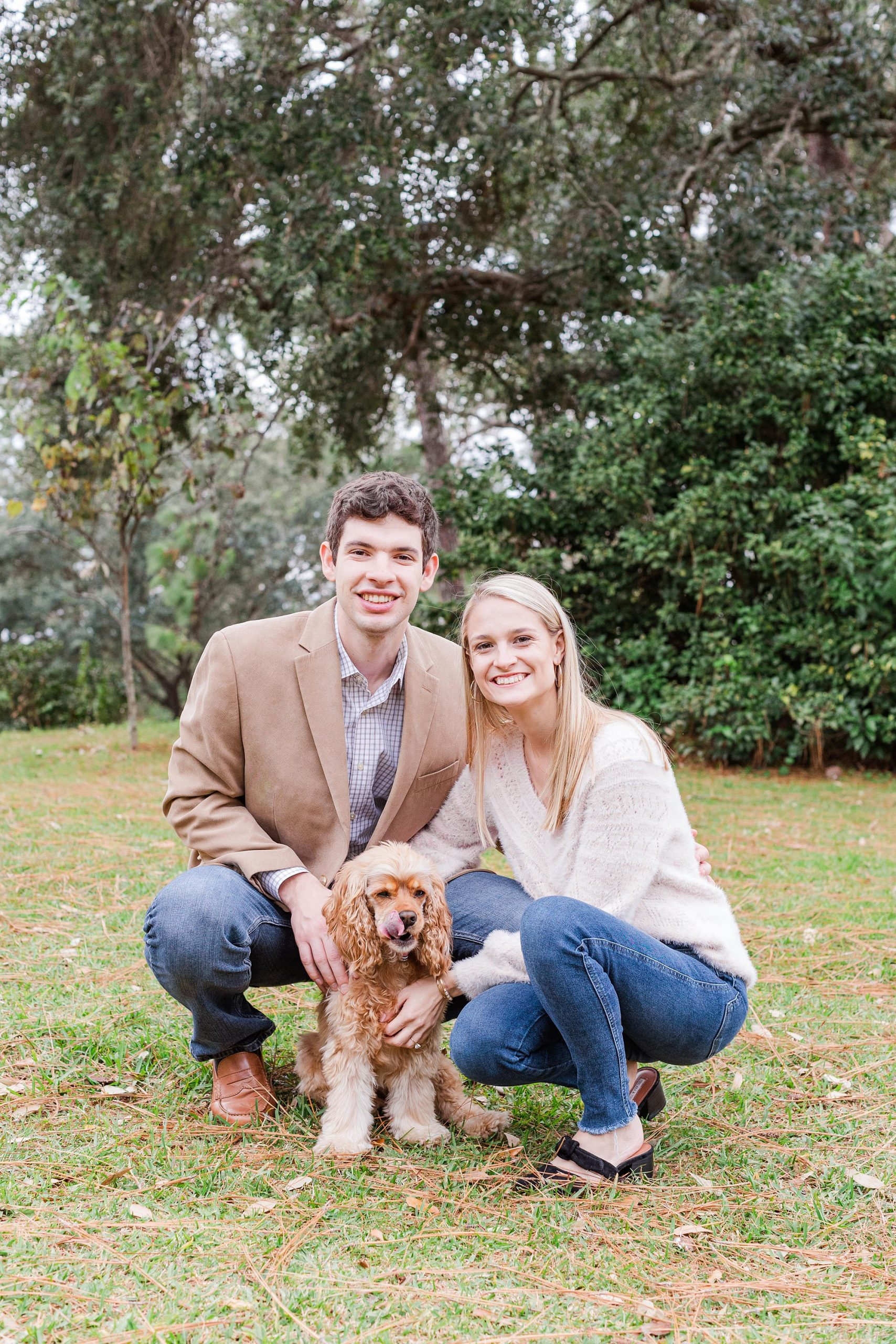 Mobile Bay engagement portraits with dog