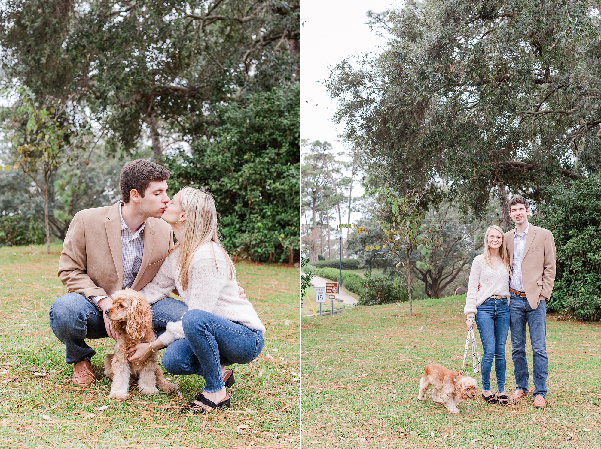 bride and groom pose with dog during AL engagement photos
