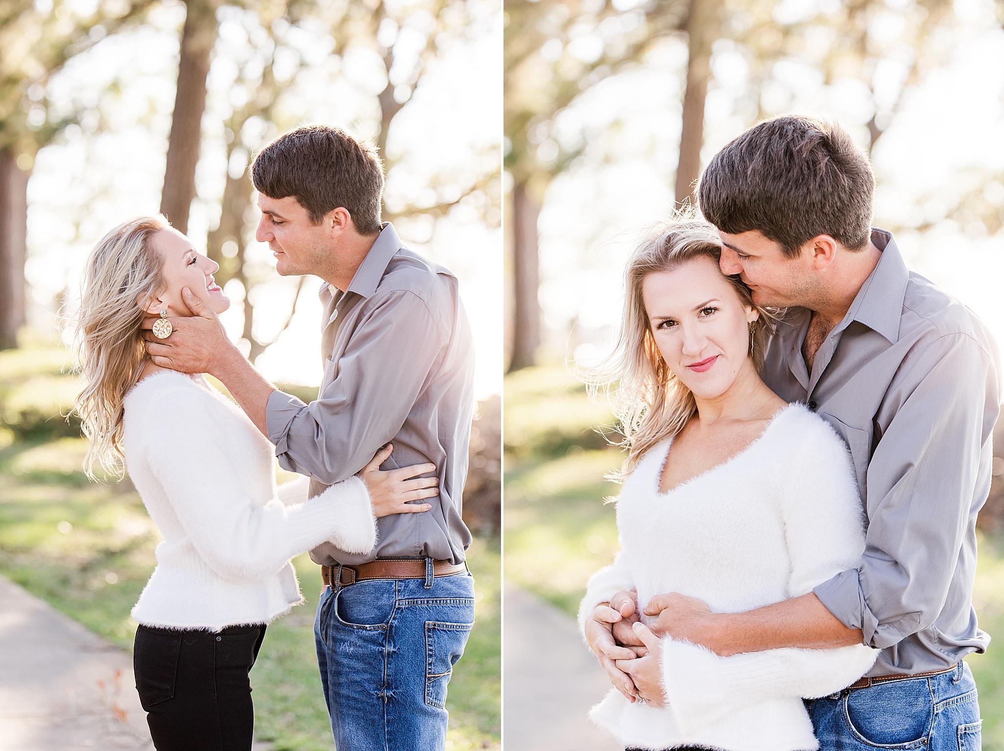 groom makes bride laugh during Orange Street Pier engagement photos