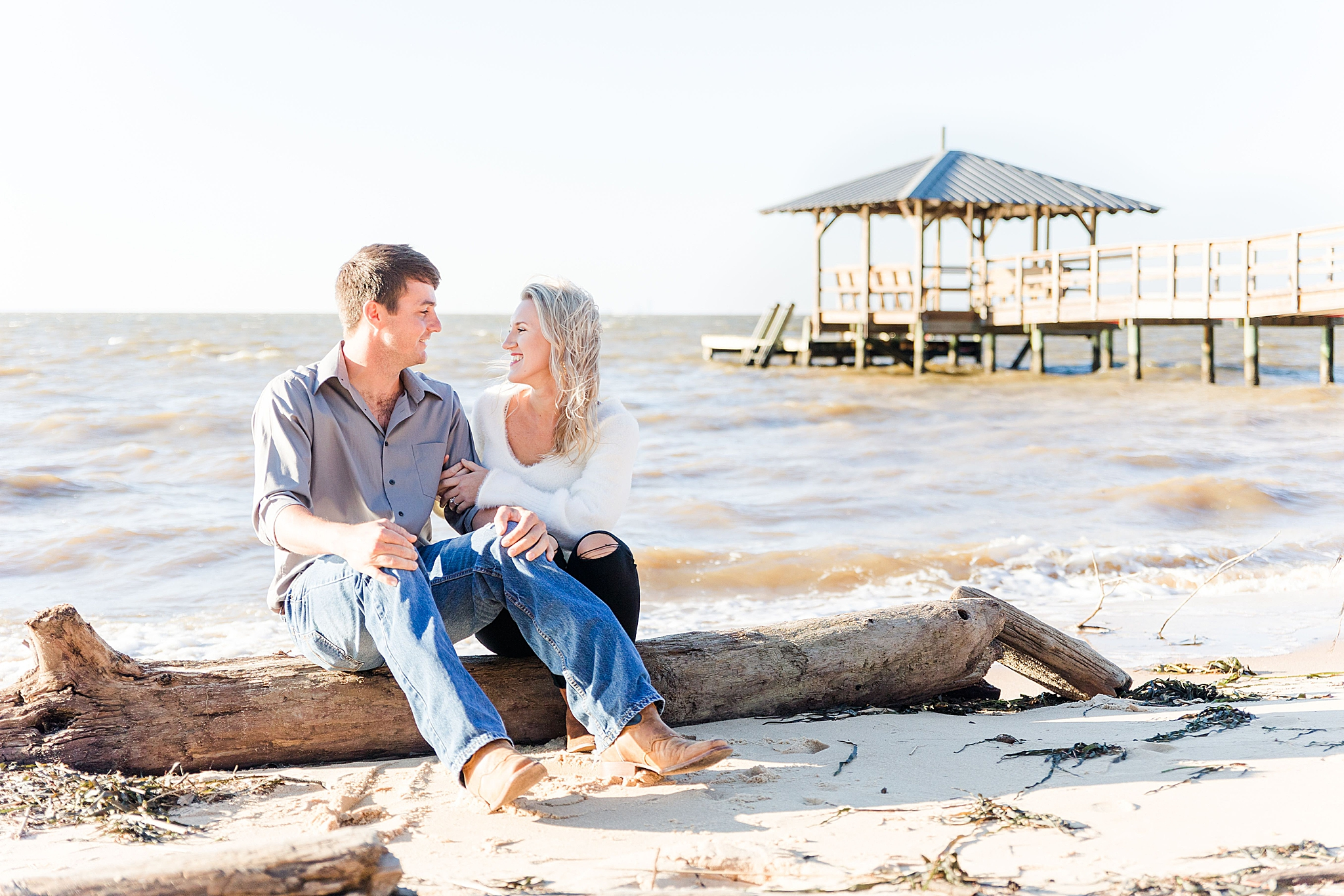Orange Street Pier engagement session in Fairhope AL with Goodie & Smith Weddings
