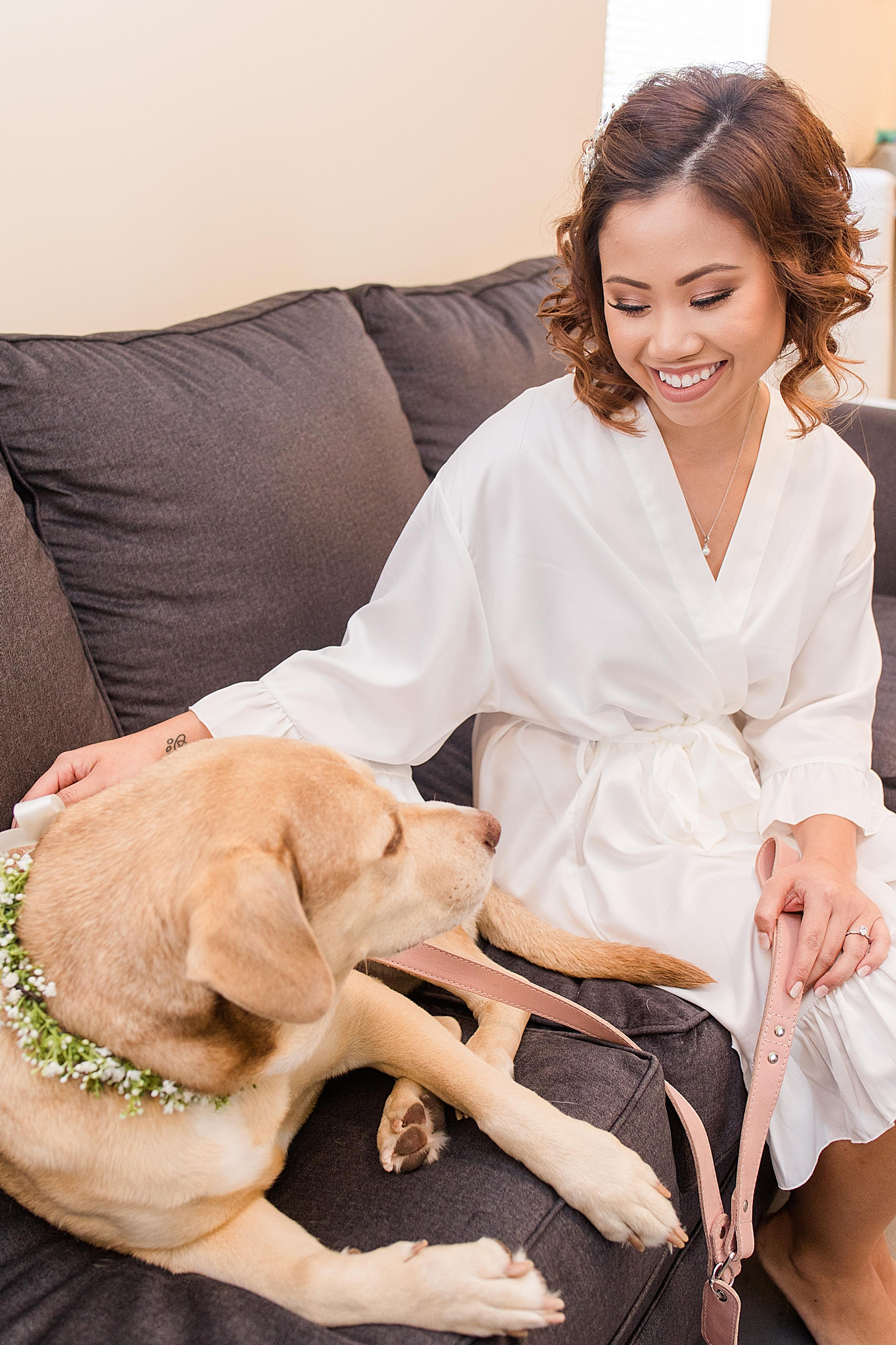 bride and dog rest before Orchard at Hayes Farm wedding
