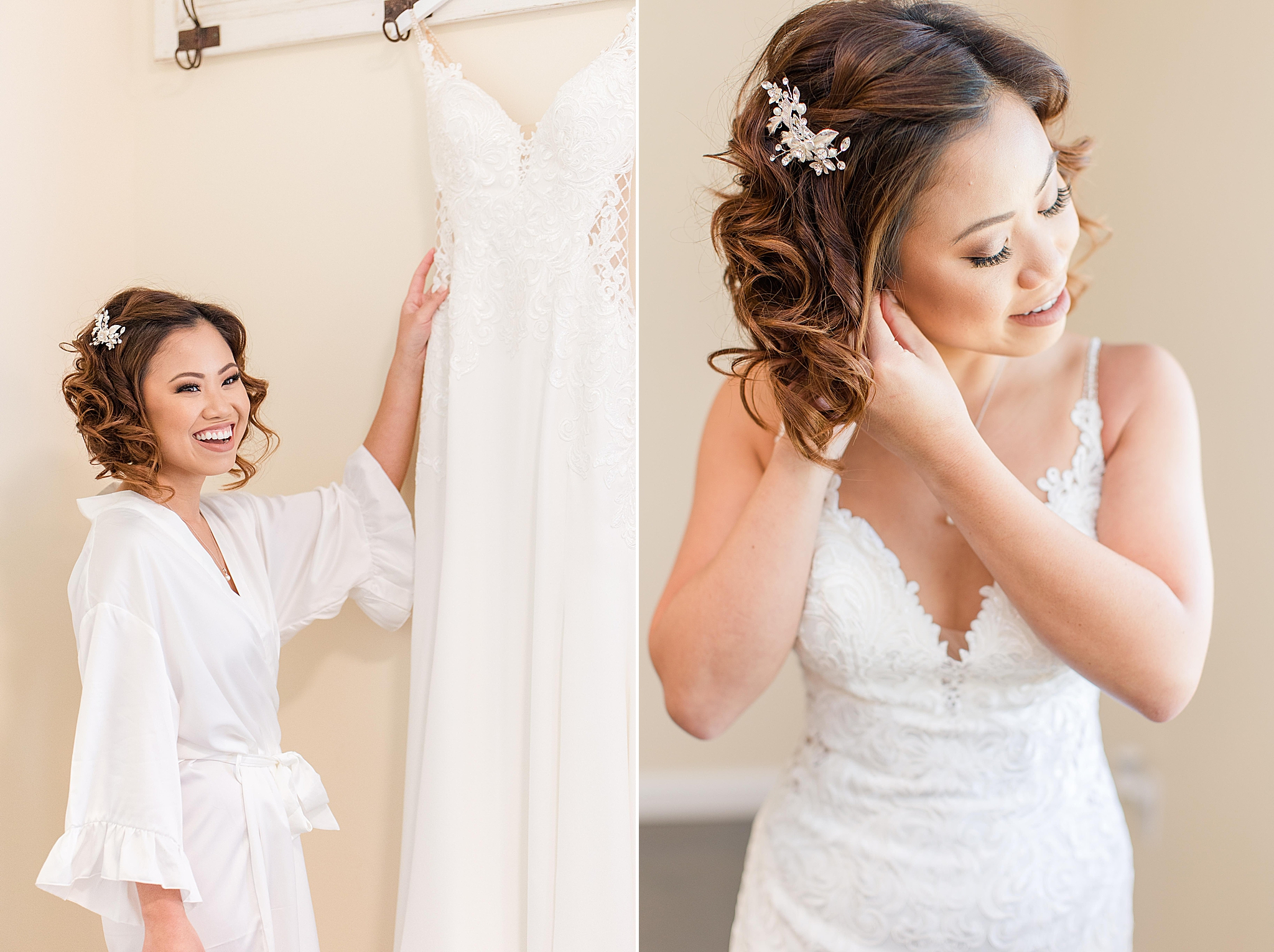 bride looks at gown and adjusts earrings