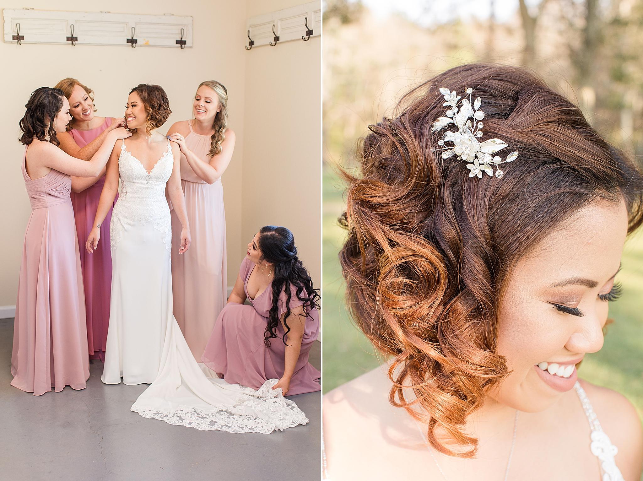 bridesmaids help bride prepare for AL wedding