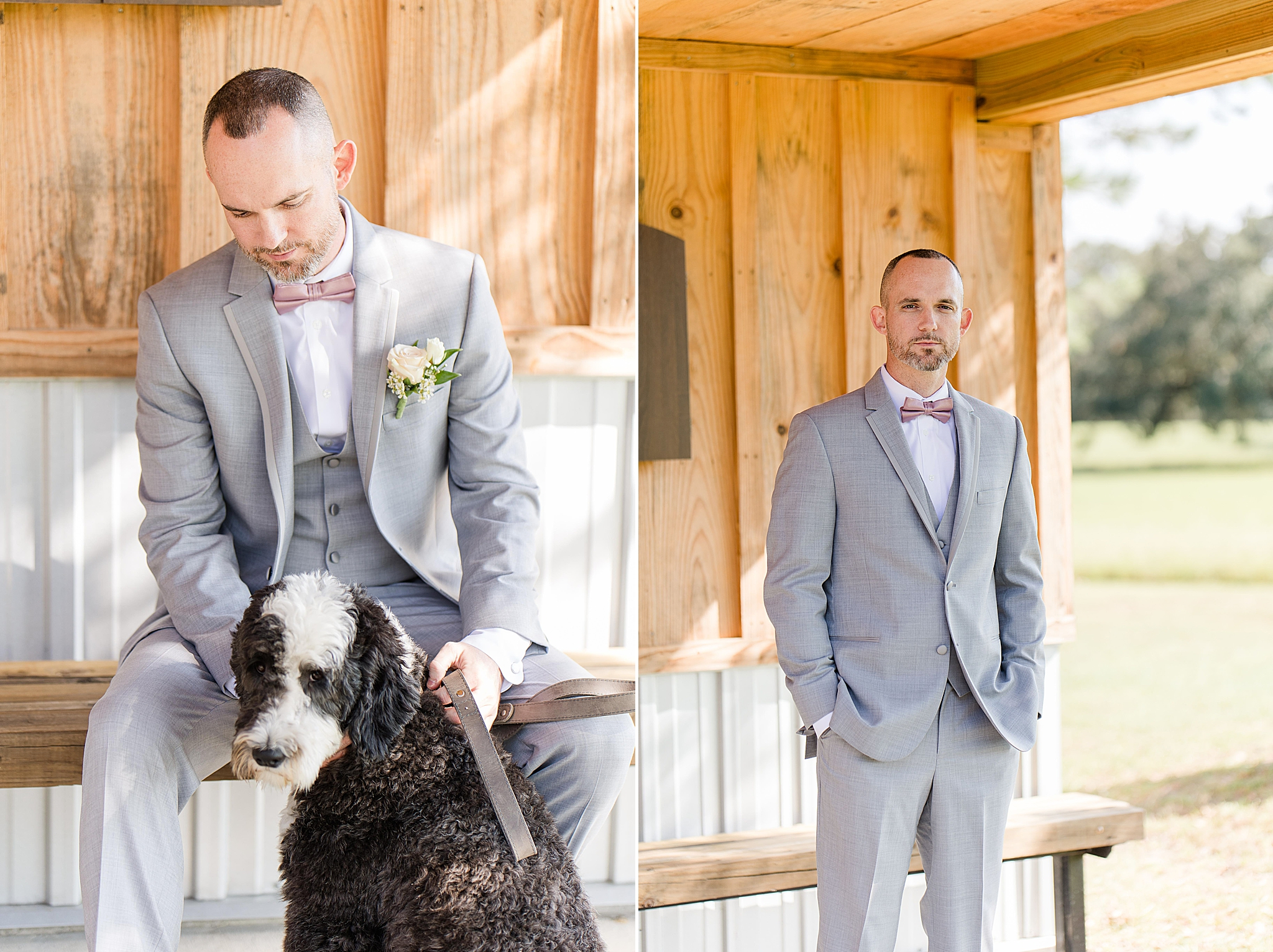 groom prepares for wedding at The Orchard at Hayes Farm