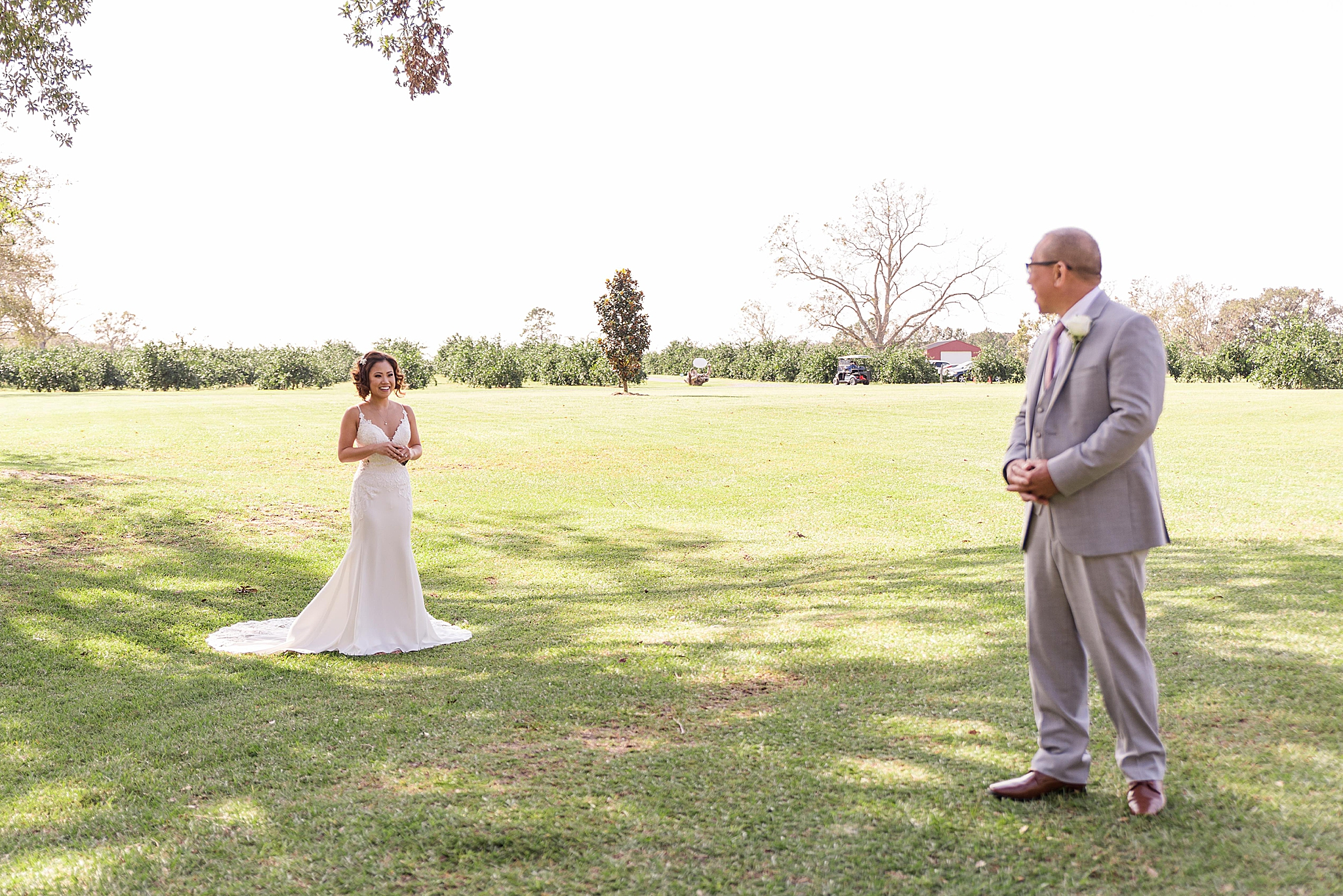 bride and dad have first look at The Orchard at Hayes Farm