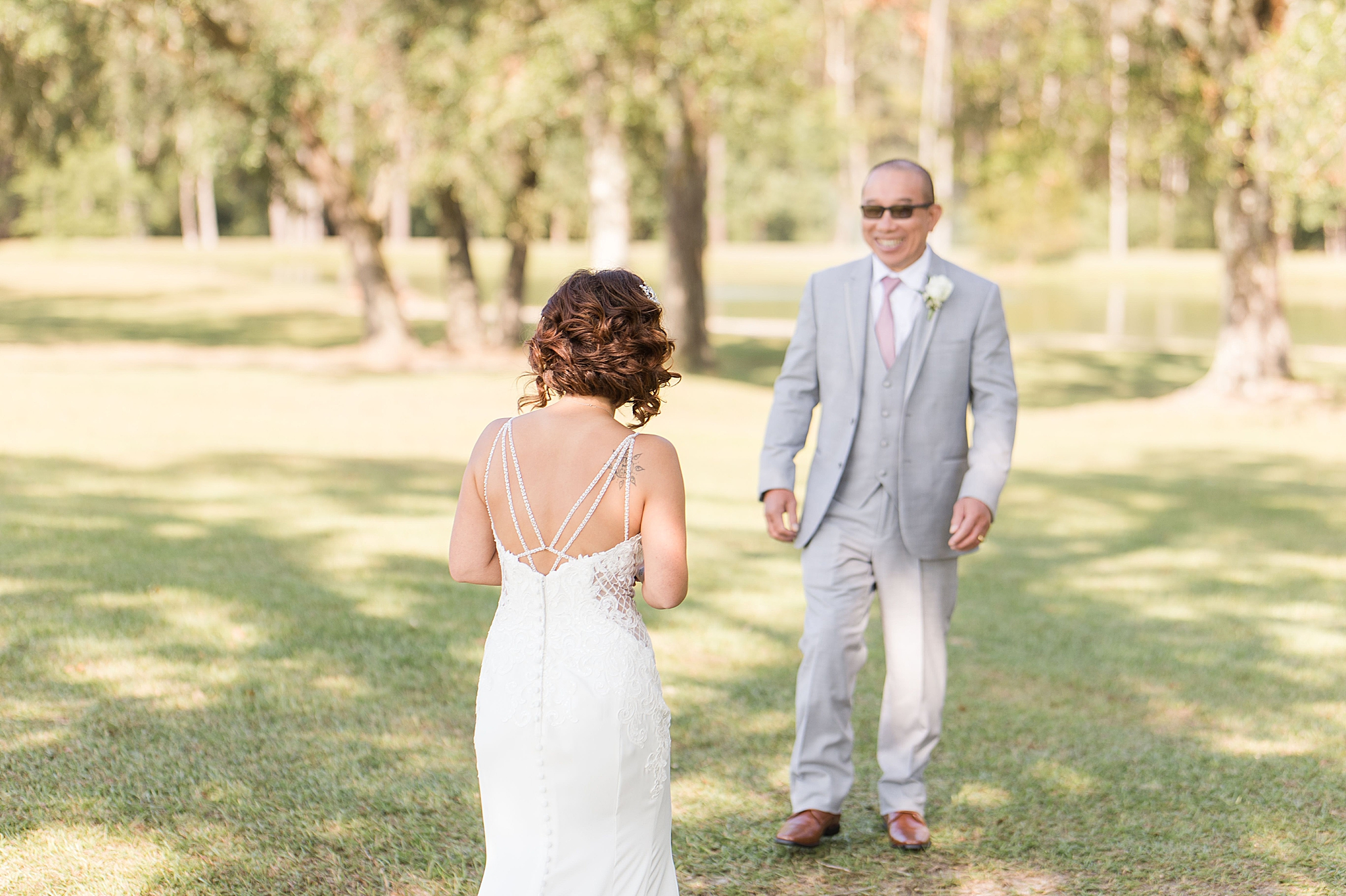 Bride approaches dad during first look