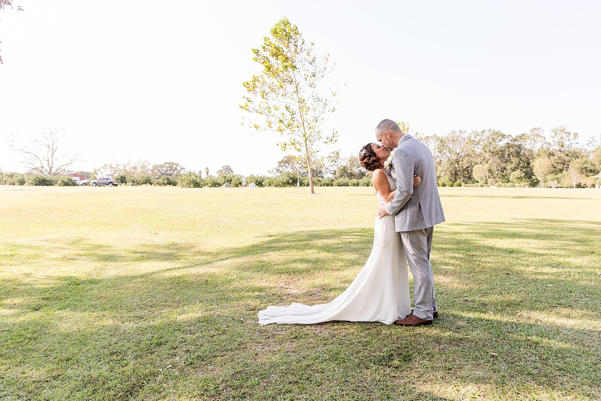 first look on Orchard at Hayes Farm wedding day