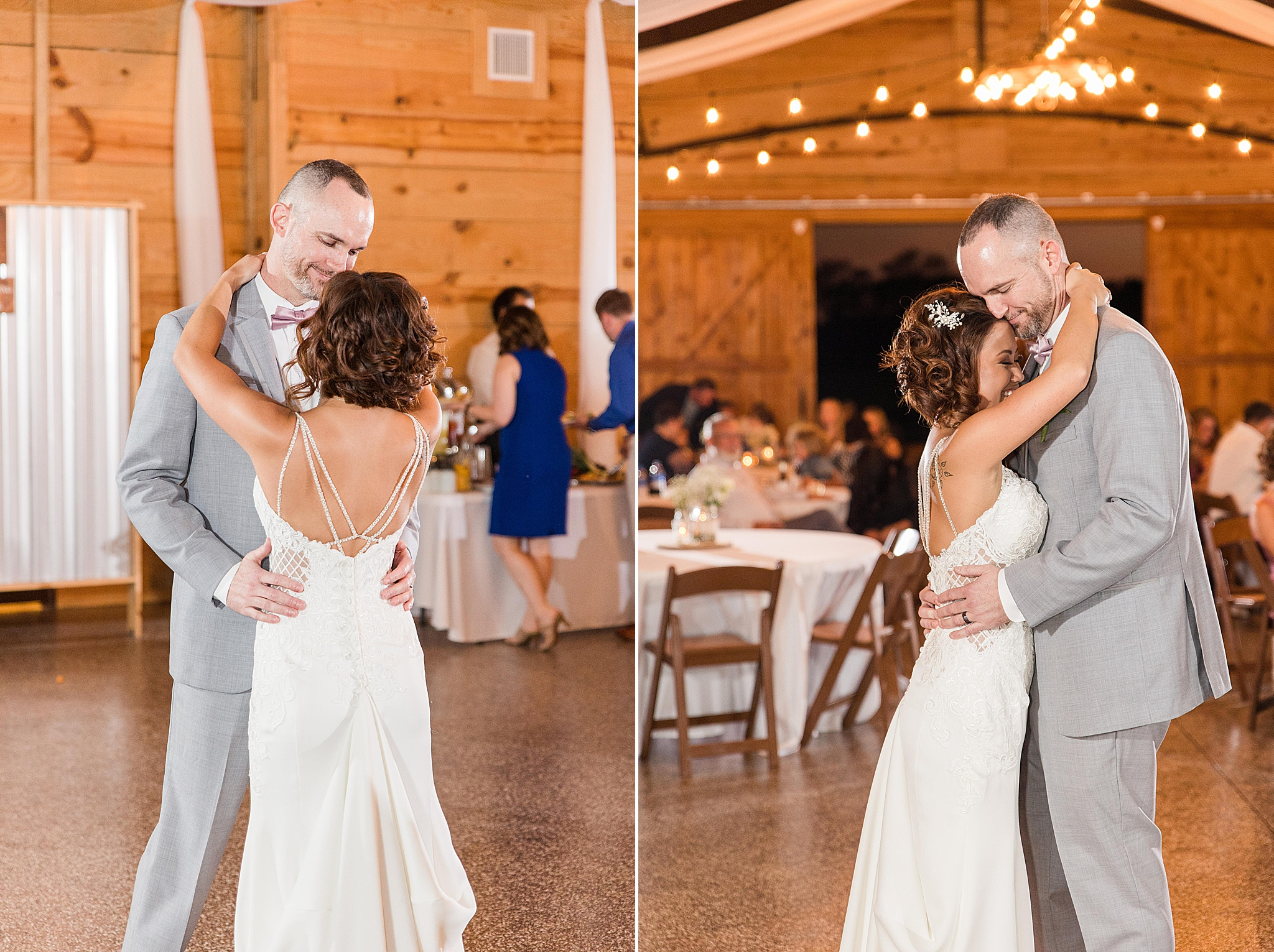 bride and groom's first dance during AL wedding reception