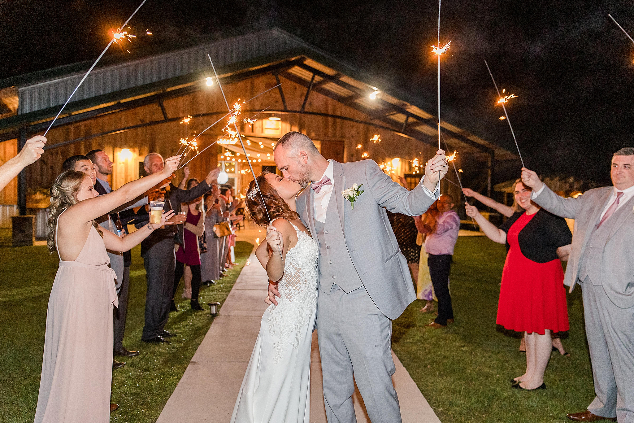 sparkler exit to end Orchard at Hayes Farm wedding