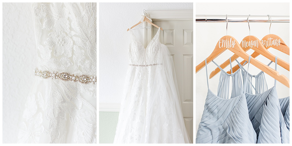 wedding gown and pastel blue gowns for Laurel Hill Farm wedding
