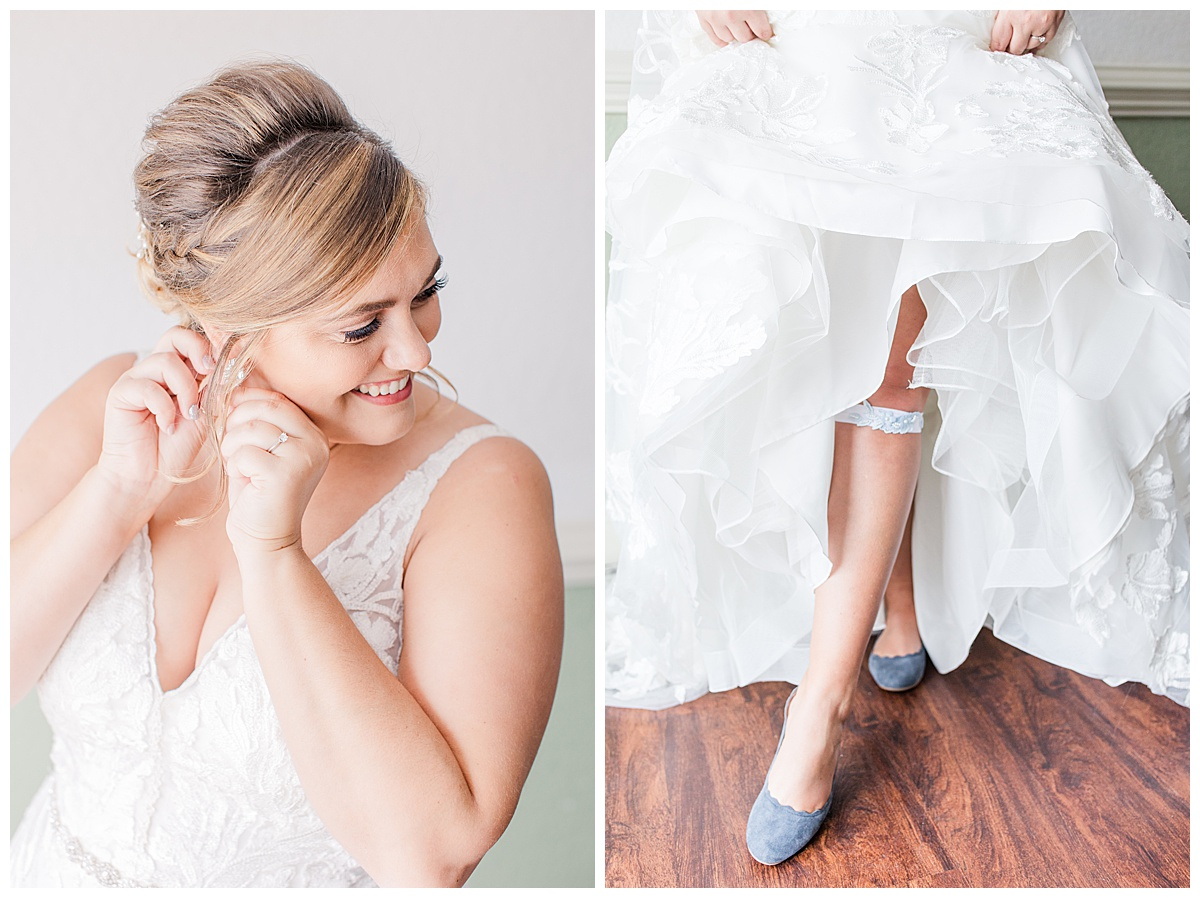 bride getting ready at laurel hill farm wedding with blue suede shoes and garter
